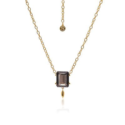 Silk&Steel Jewellery Smokey Quartz and Gold Prima Donna Necklace From La Dolce Vita Collection