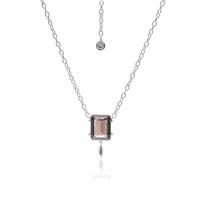 Silk&Steel Jewellery Smokey Quartz and Silver Prima Donna Necklace From La Dolce Vita Collection