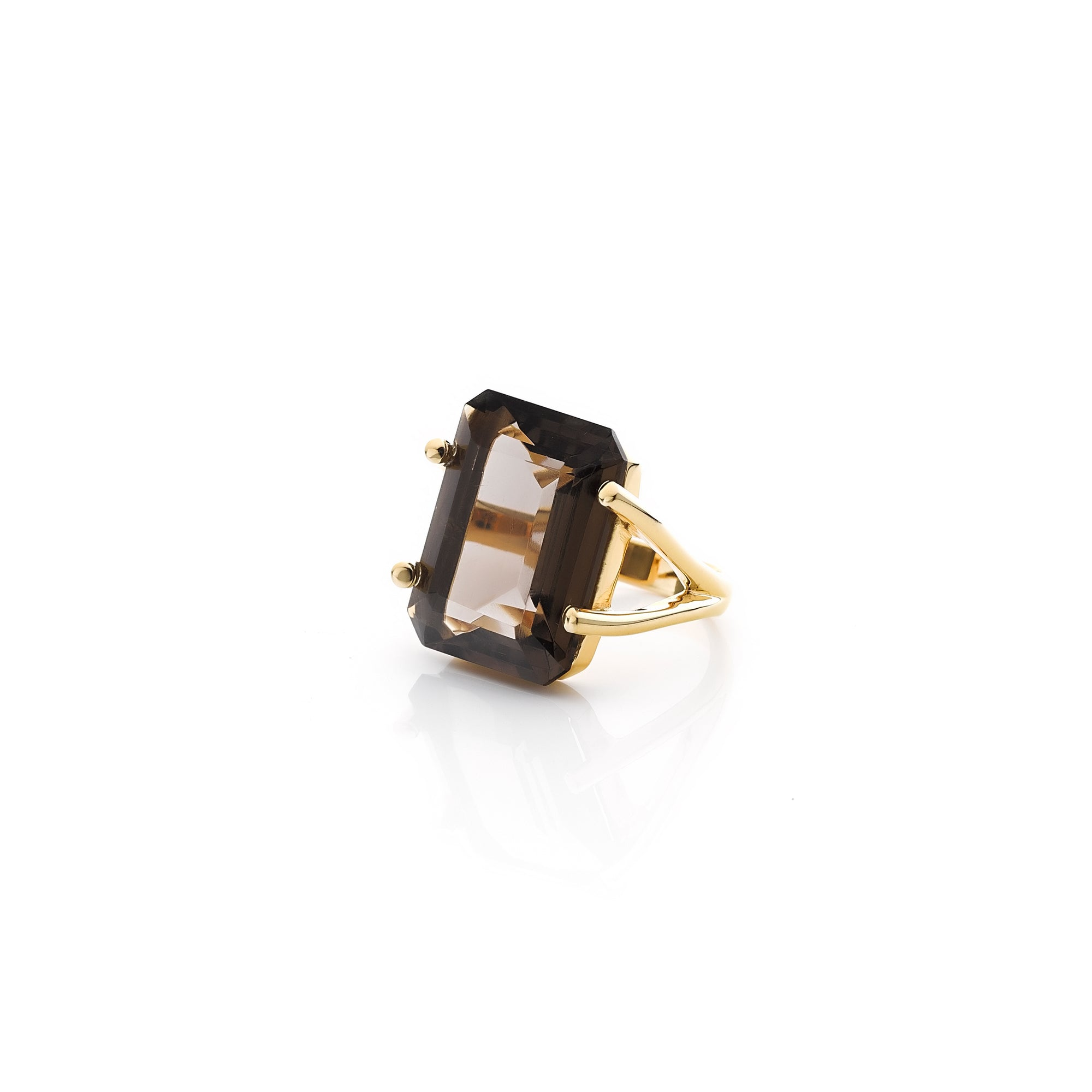 Silk&Steel Jewellery Smokey Quartz and Gold Prima Donna Ring From Aria Collection