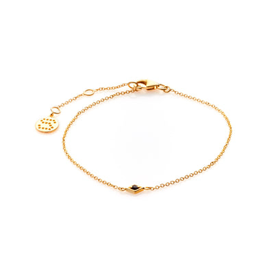 Silk & Steel Jewellery Gold Sterling Silver Keepsake black spinel bracelet