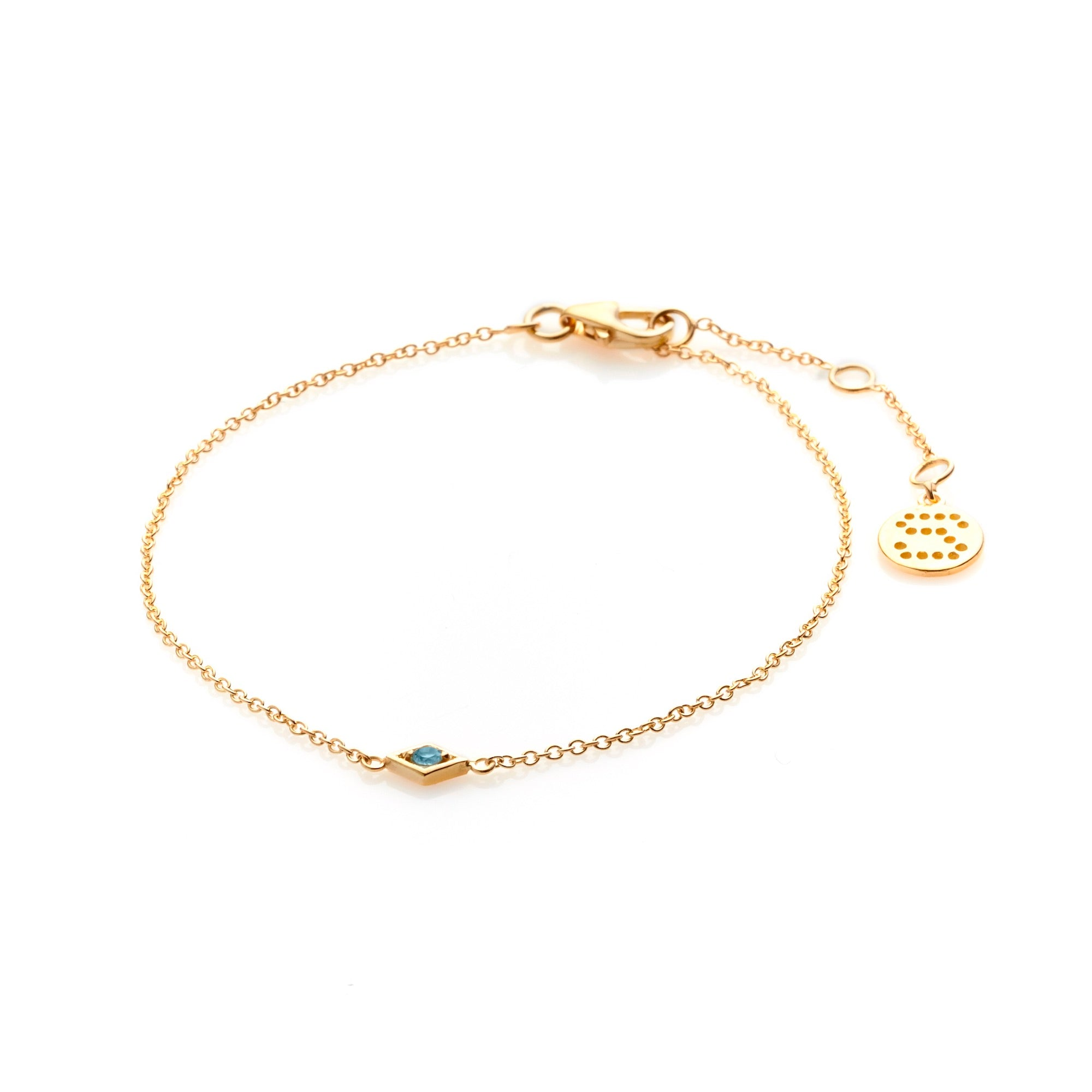 Silk & Steel Jewellery Gold Sterling Silver Keepsake blue topaz bracelet