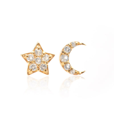 Silk & Steel Jewellery Superfine Celestial Gold Star and Moon White Topaz Earrings