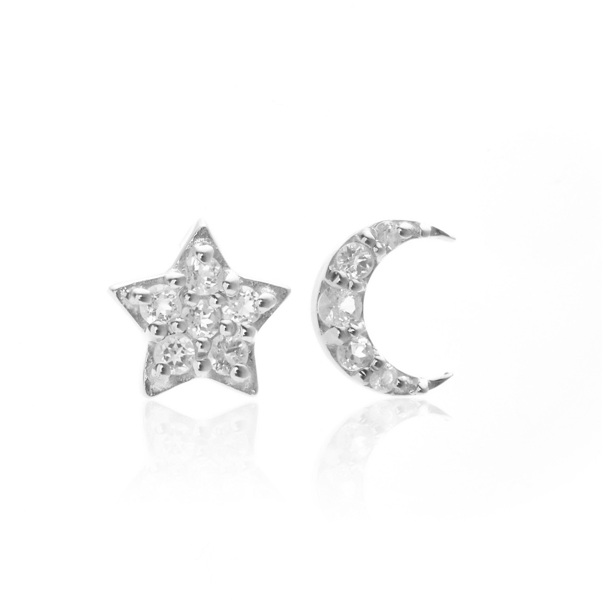 Silk & Steel Jewellery Superfine Celestial Star and Moon White Topaz Earrings