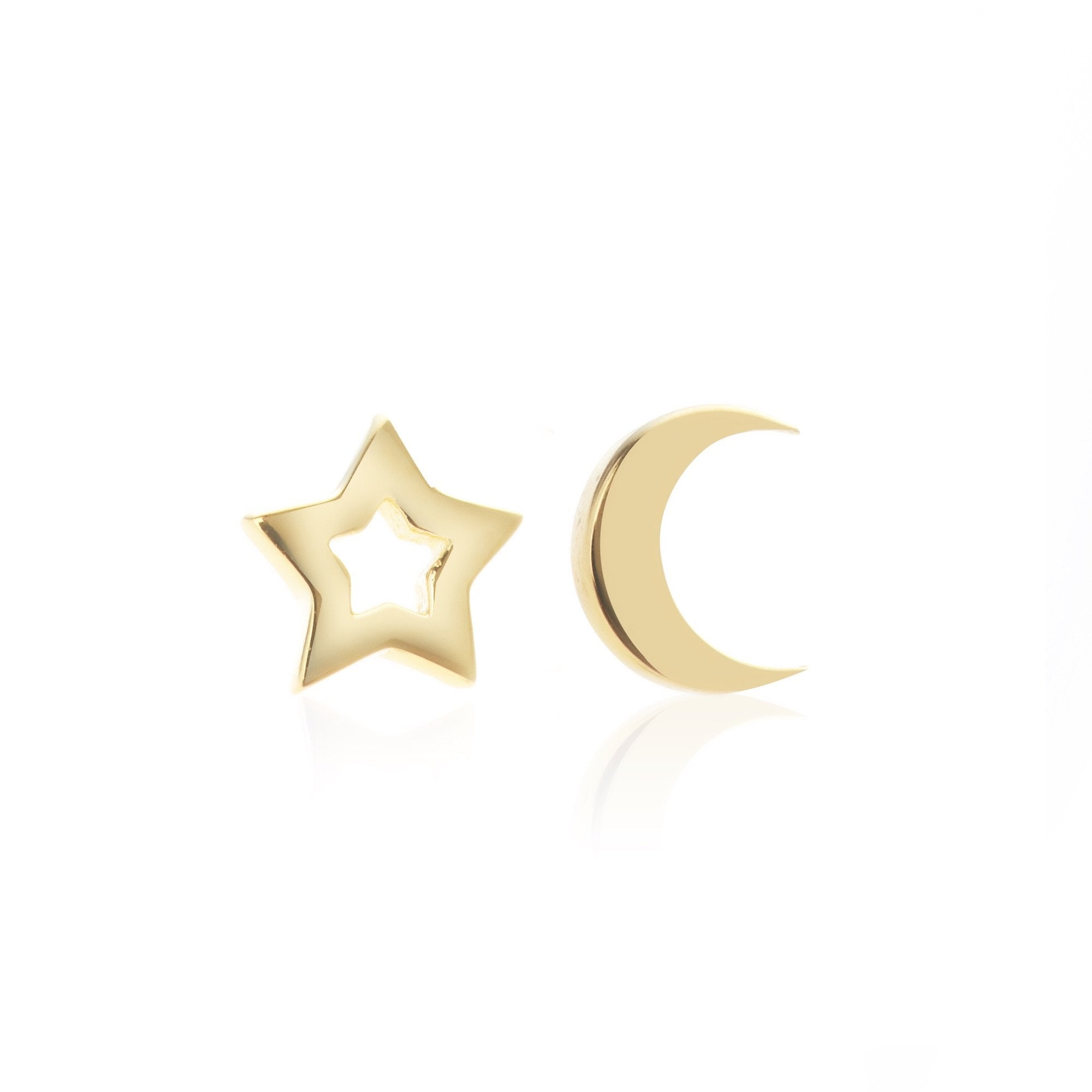 Silk & Steel Jewellery Superfine Gold Star and Moon Sterling Silver Stud Earrings