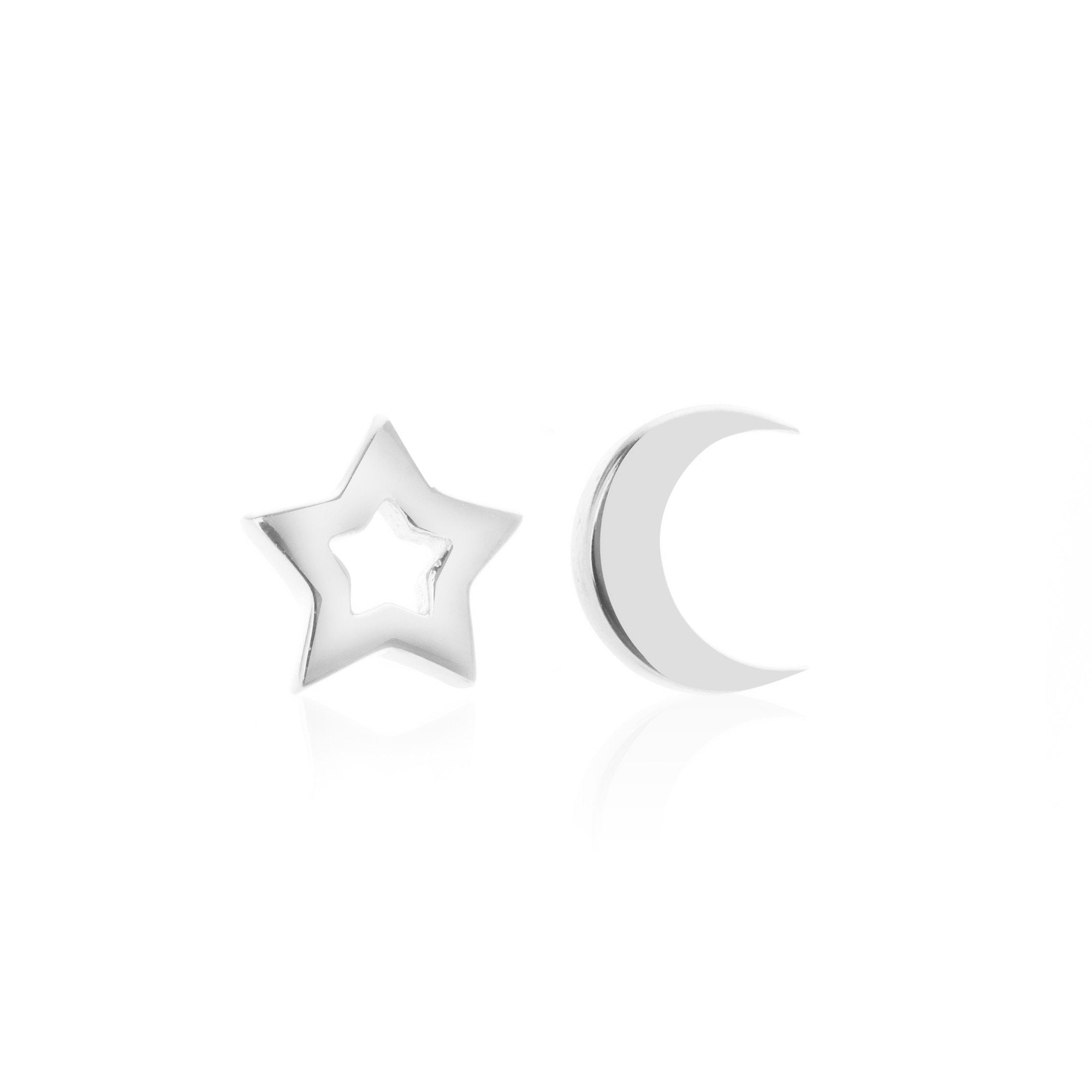 Silk & Steel Jewellery Superfine Silver Star and Moon Sterling Silver Stud Earrings