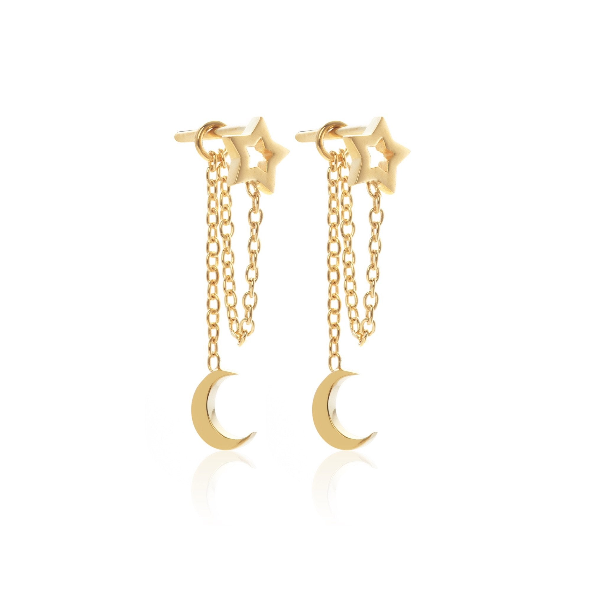Silk & Steel Jewellery Superfine Gold Starry Night Drop earrings