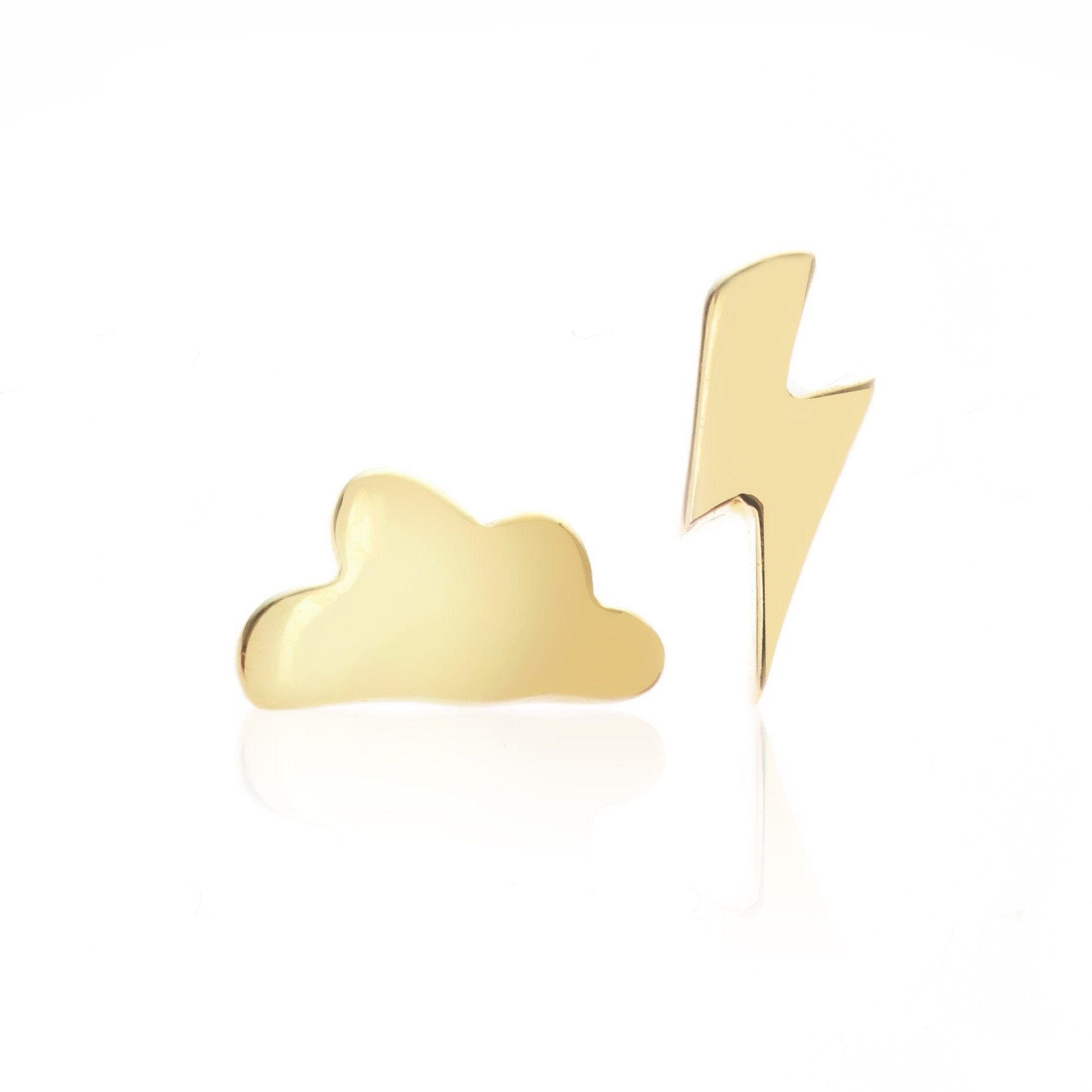 Silk & Steel Jewellery Superfine Gold Cloud and Bolt Sterling Silver Stud Earrings