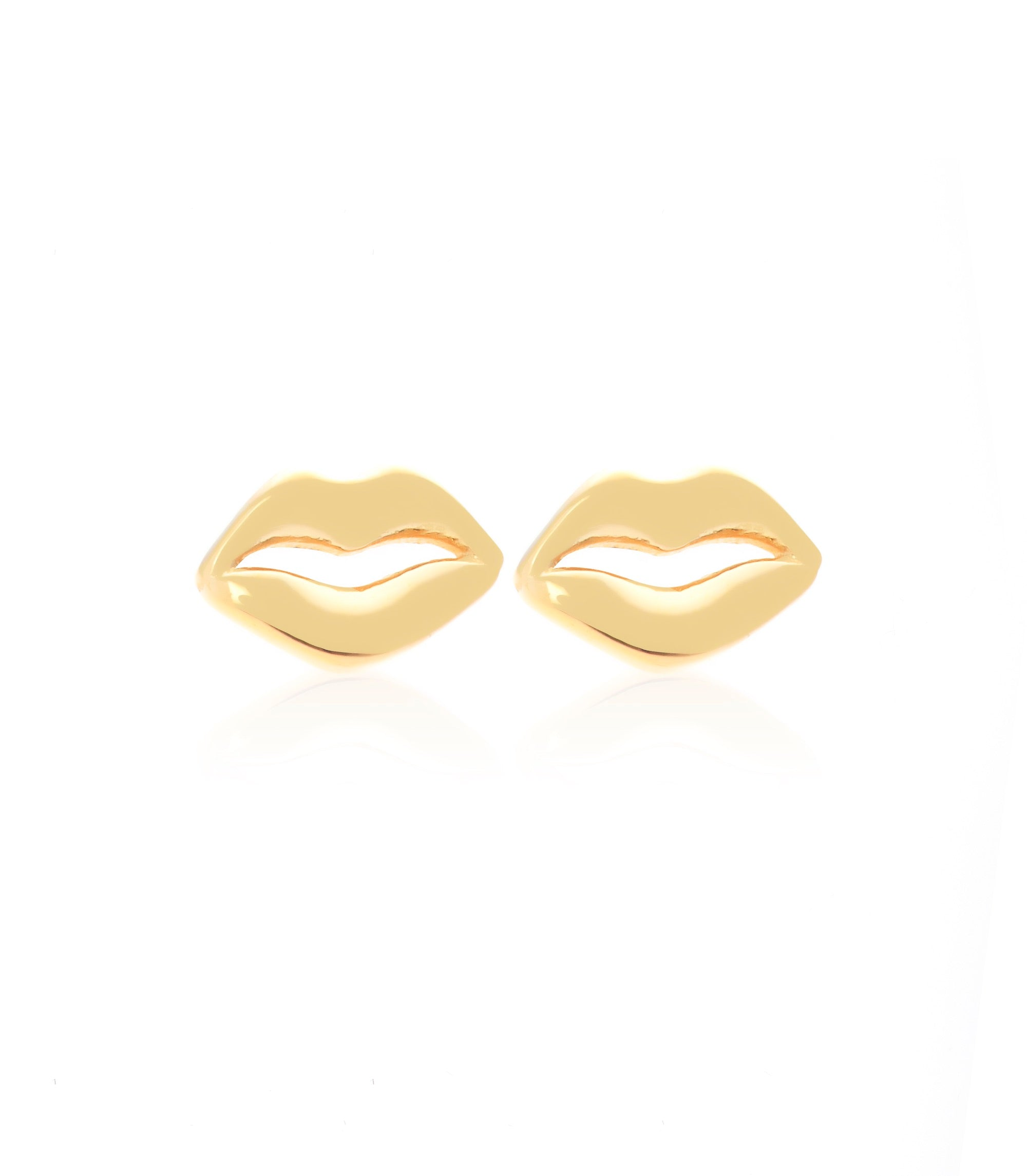 Silk & Steel Jewellery Superfine Gold Kiss Me Sterling Silver Stud Earrings