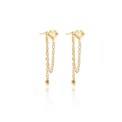 Silk & Steel Jewellery Superfine Gold Kiss Me Drop earrings