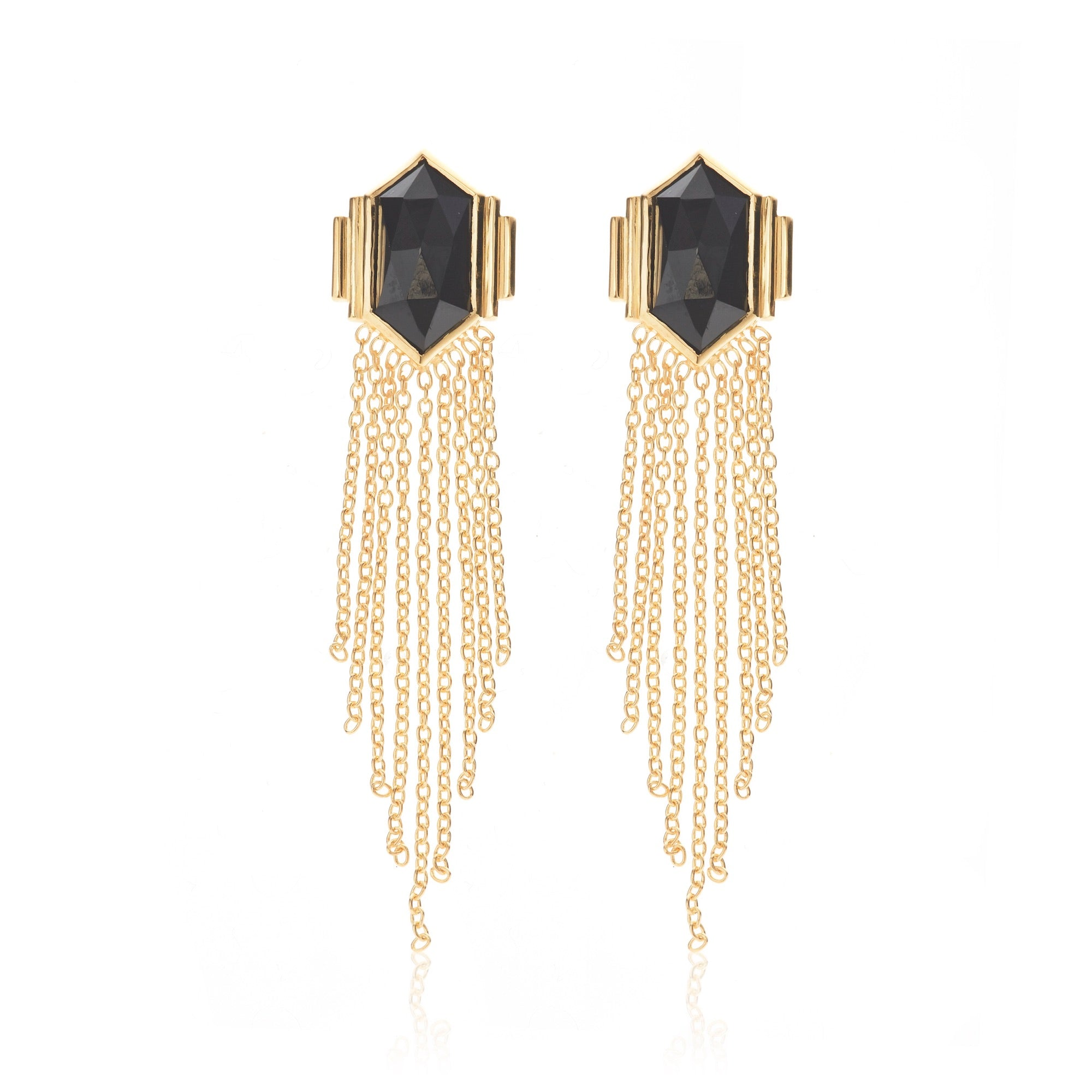 Silk & Steel Jewellery Glamour Fringe Earrings Black Spinel and Gold Sterling Silver