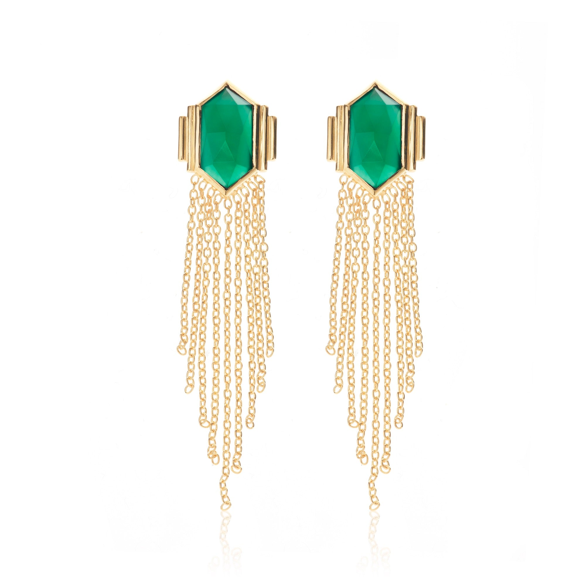 Silk & Steel Jewellery Glamour Fringe Earrings Green Onyx and Gold Plated Sterling Silver