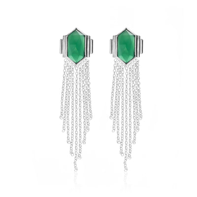 Silk & Steel Jewellery Glamour Fringe Earrings Green Onyx and Sterling Silver