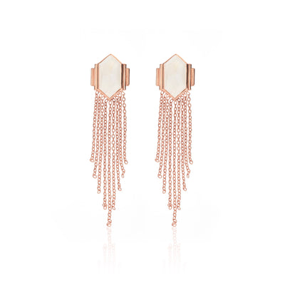 Silk & Steel Jewellery Glamour Fringe Earrings Moonstone and Rose Gold Sterling Silver