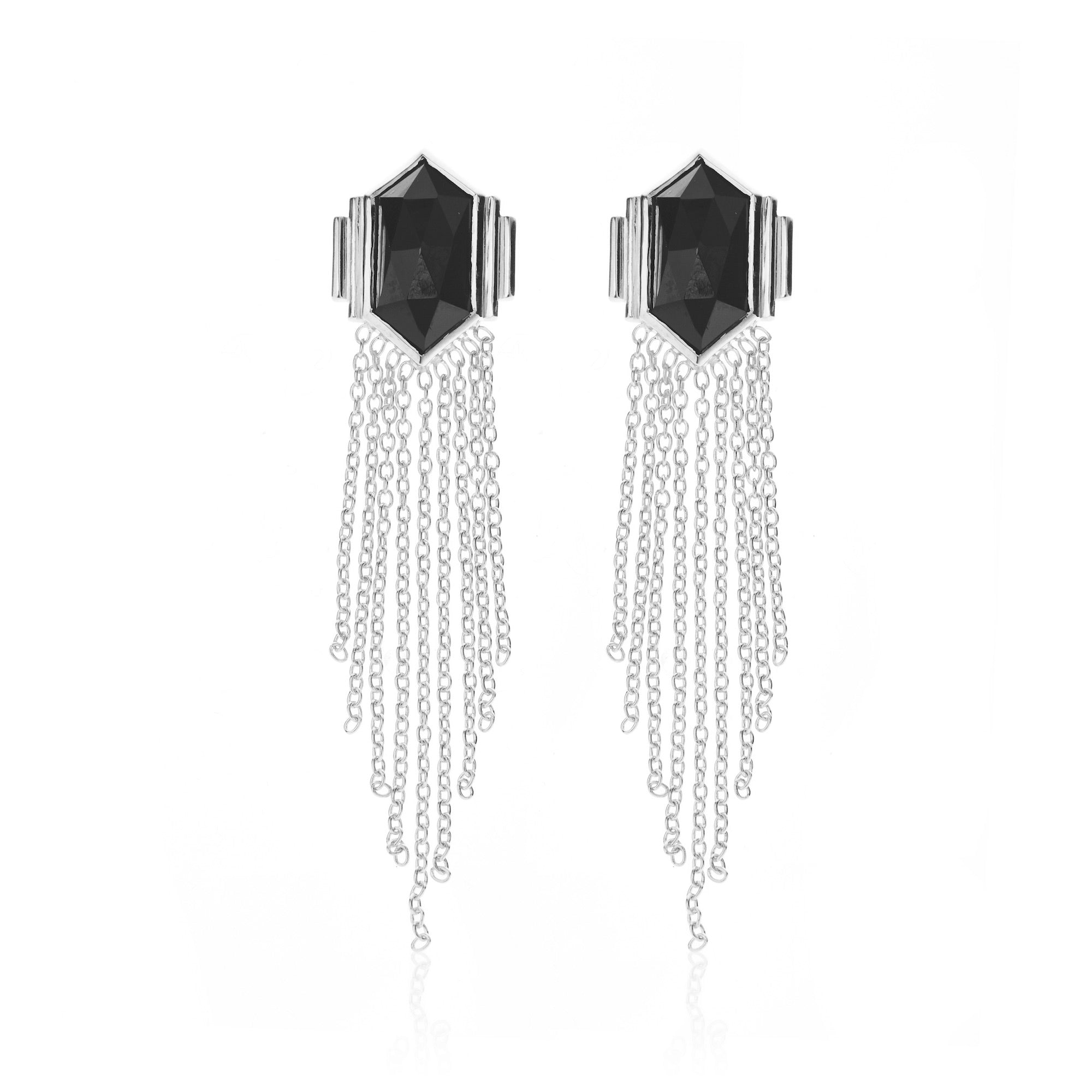 Silk & Steel Jewellery Glamour Fringe Earrings Black Spinel and Sterling Silver