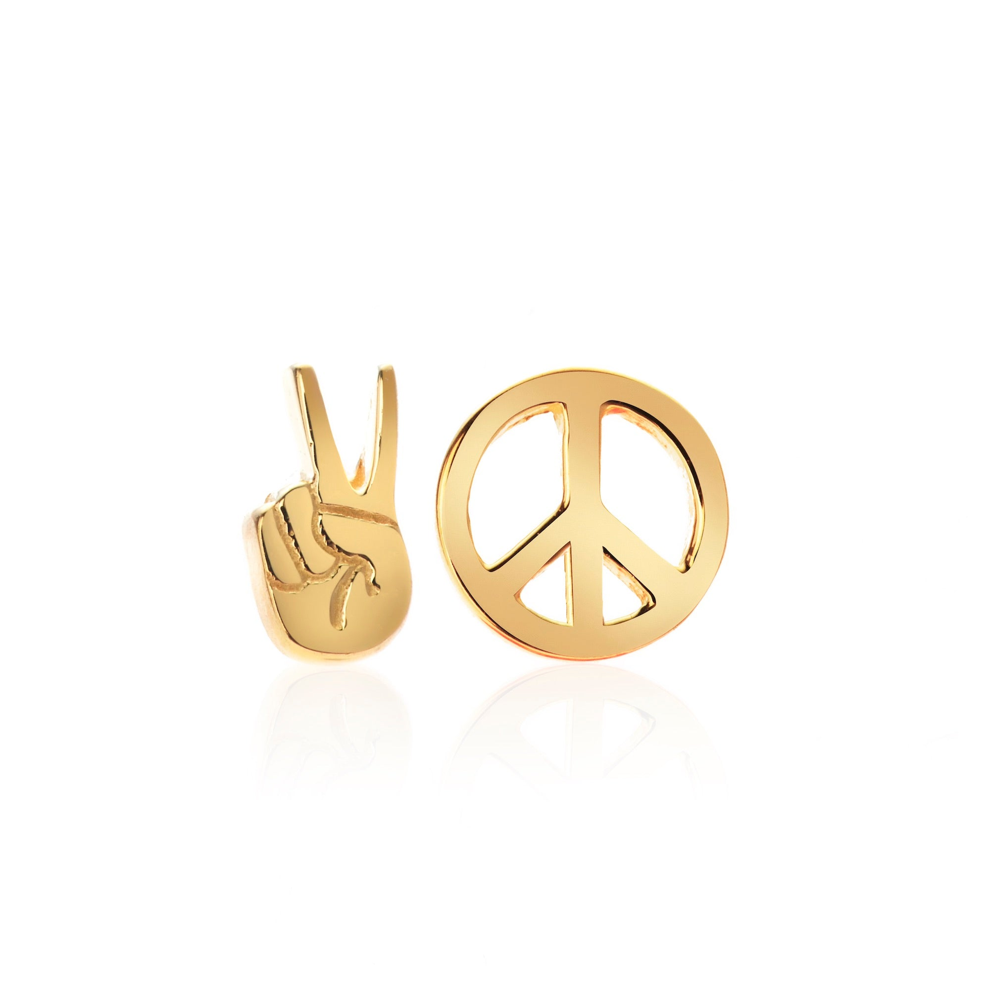 Silk & Steel Jewellery Superfine Gold Peace Out Sterling Silver Stud