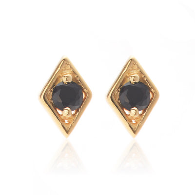 Silk & Steel Jewellery Keepsake gold black spinel stud diamond shape earrings