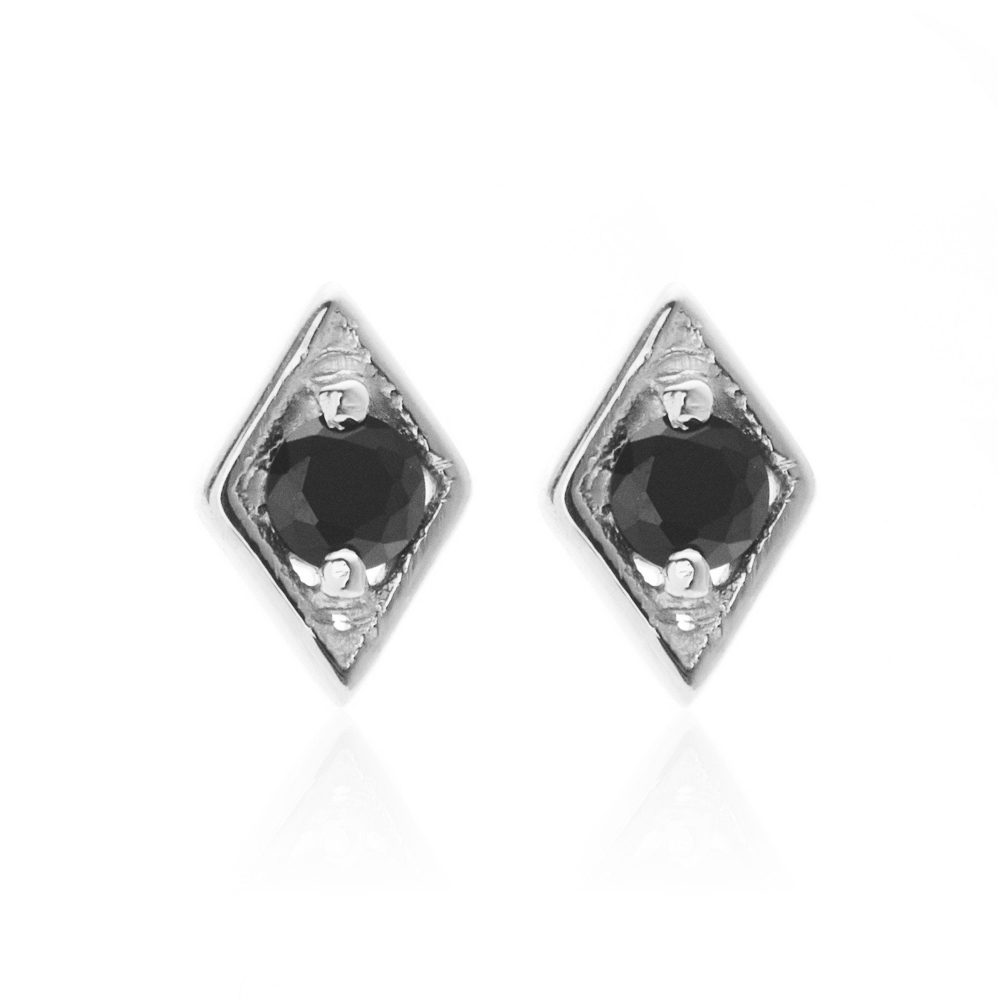 Silk & Steel Jewellery Superfine Keepsake Silver + Black Spinel Stud