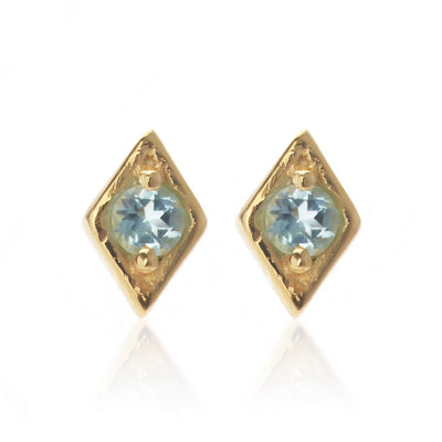 Silk & Steel Jewellery Superfine Keepsake Gold and Blue Topaz earrings