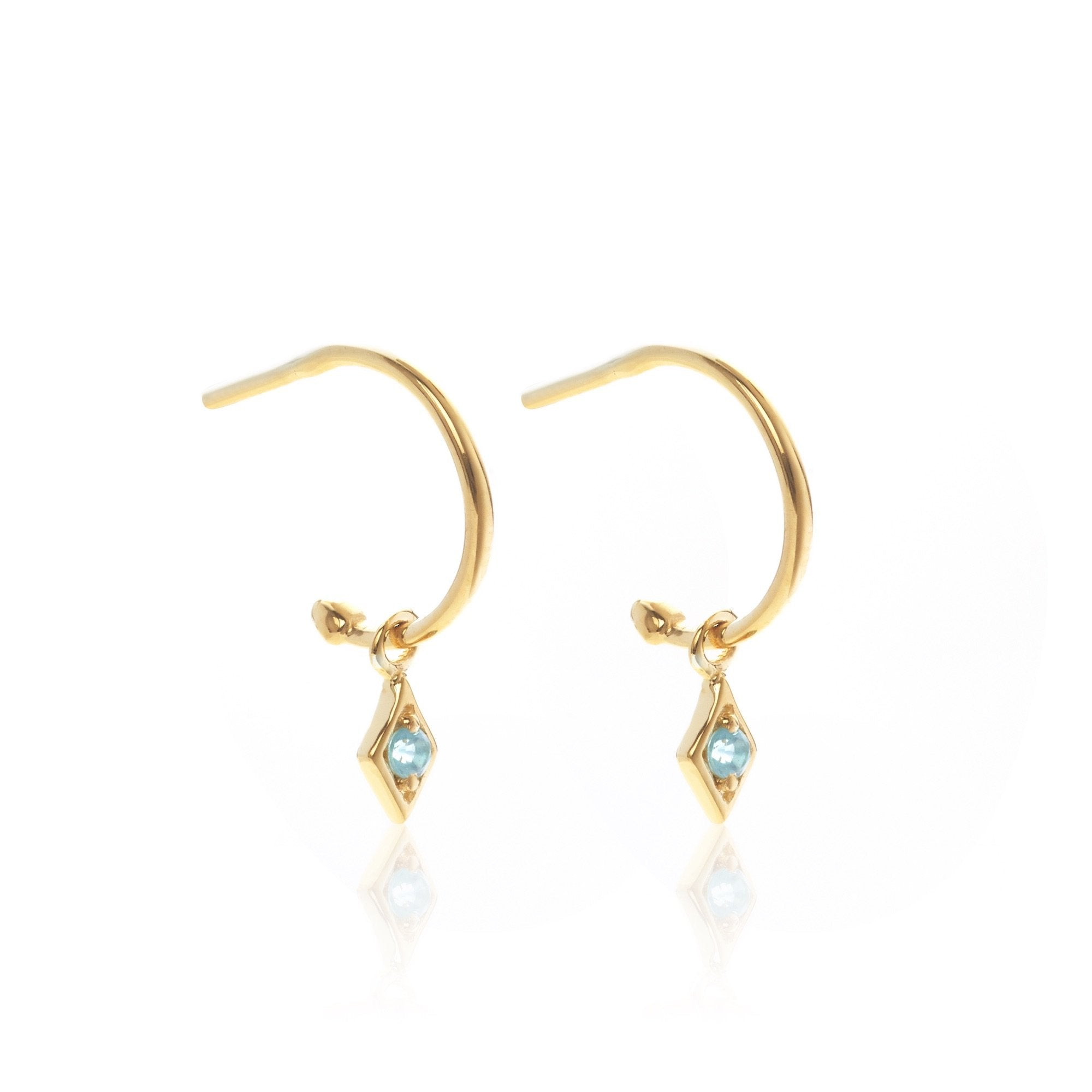 Silk & Steel Jewellery Superfine Keepsake Gold and Blue Topaz hoop earrings