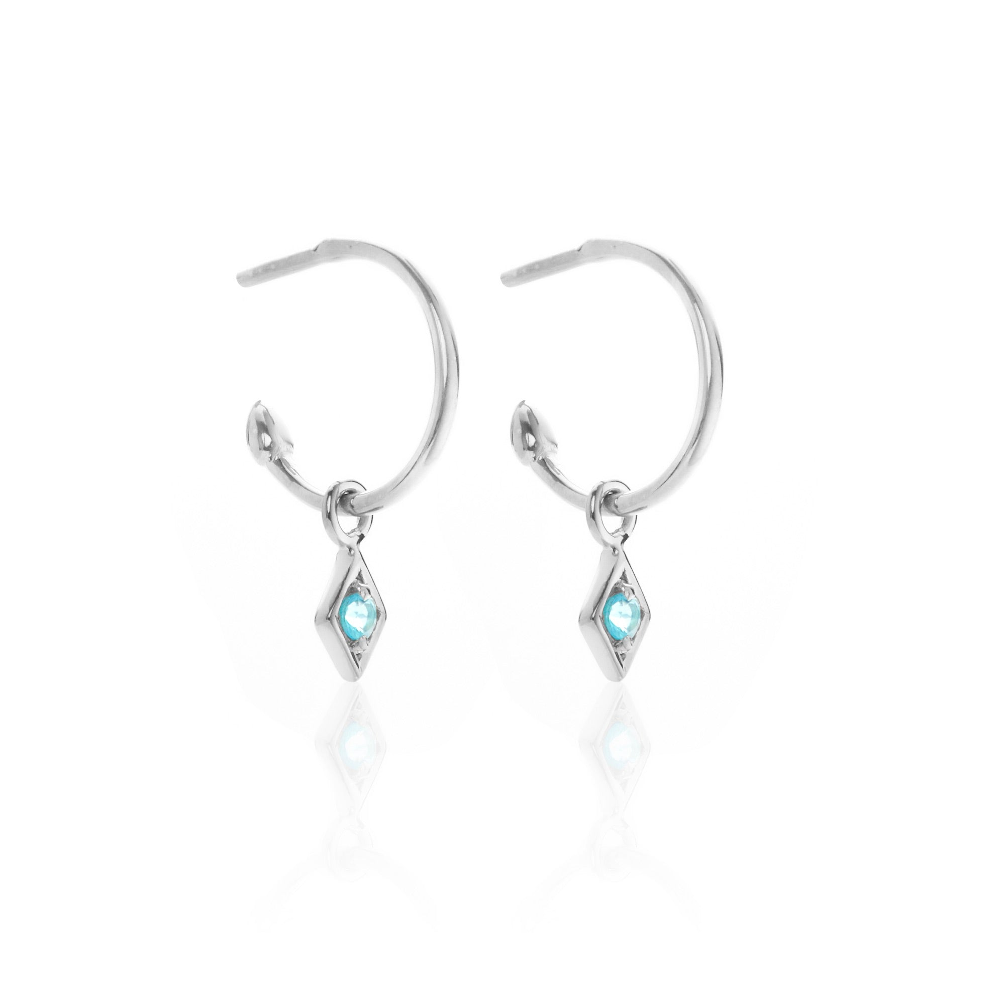 Silk & Steel Jewellery Superfine Keepsake Silver and Blue Topaz earrings