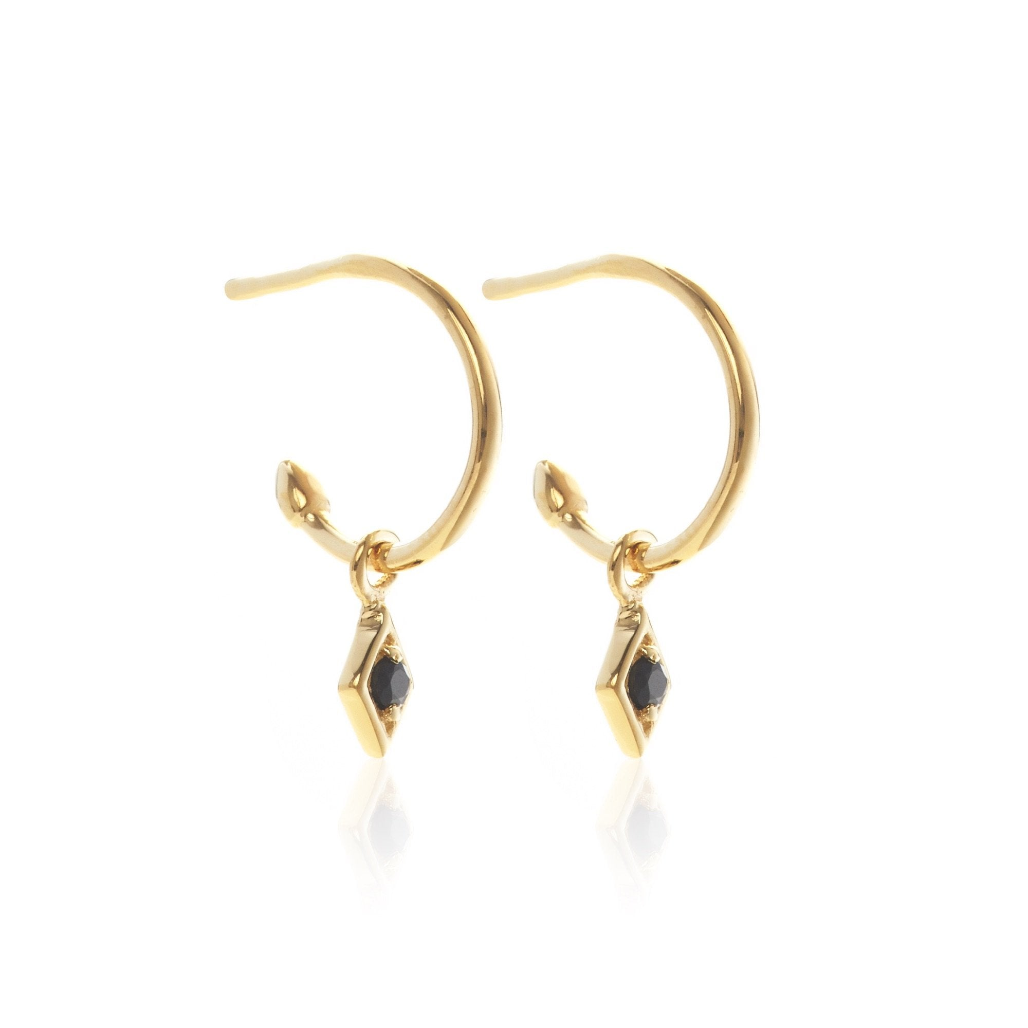 Silk & Steel Jewellery Superfine Keepsake Gold and Black Spinel hoop earrings