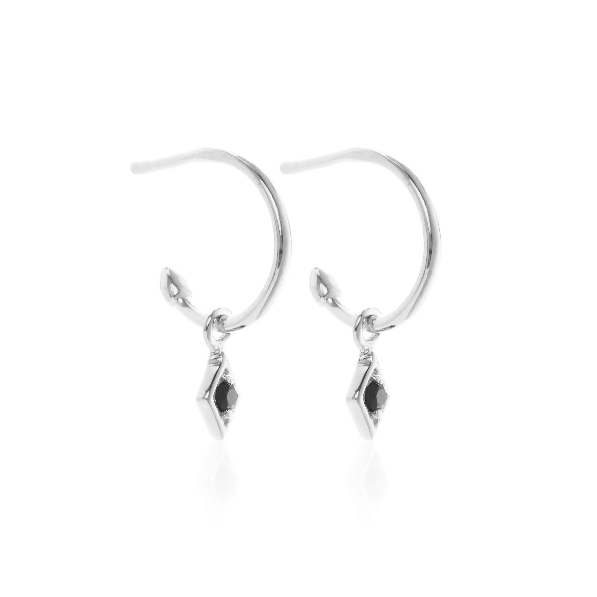 Superfine / Earrings / Keepsake Hoop / Black Spinel + Silver