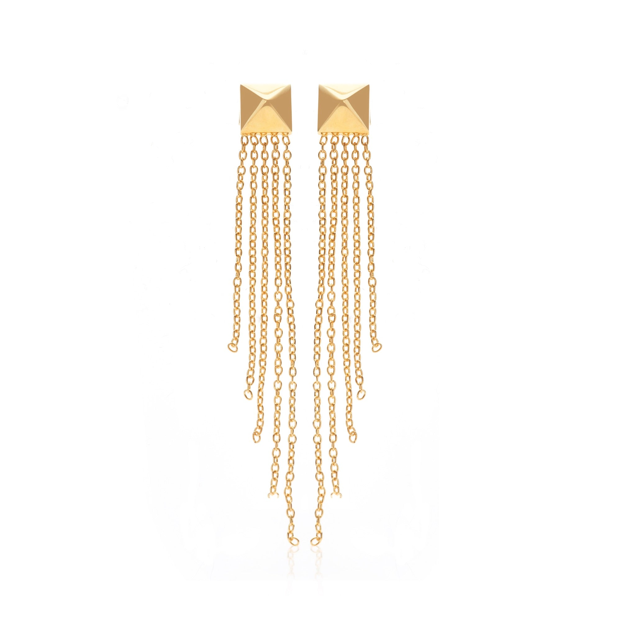 Silk & Steel Jewellery She Was Pyramid Tassle Gold Plated Sterling Silver Earrings