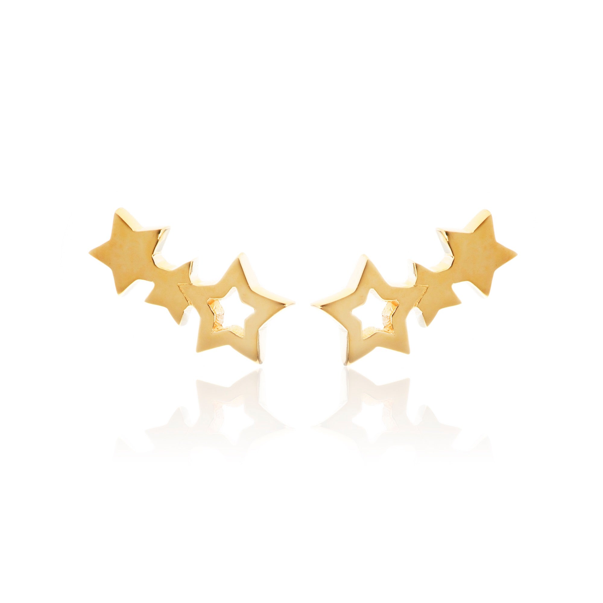 Silk & Steel Jewellery Superfine Star Climber Gold earrings