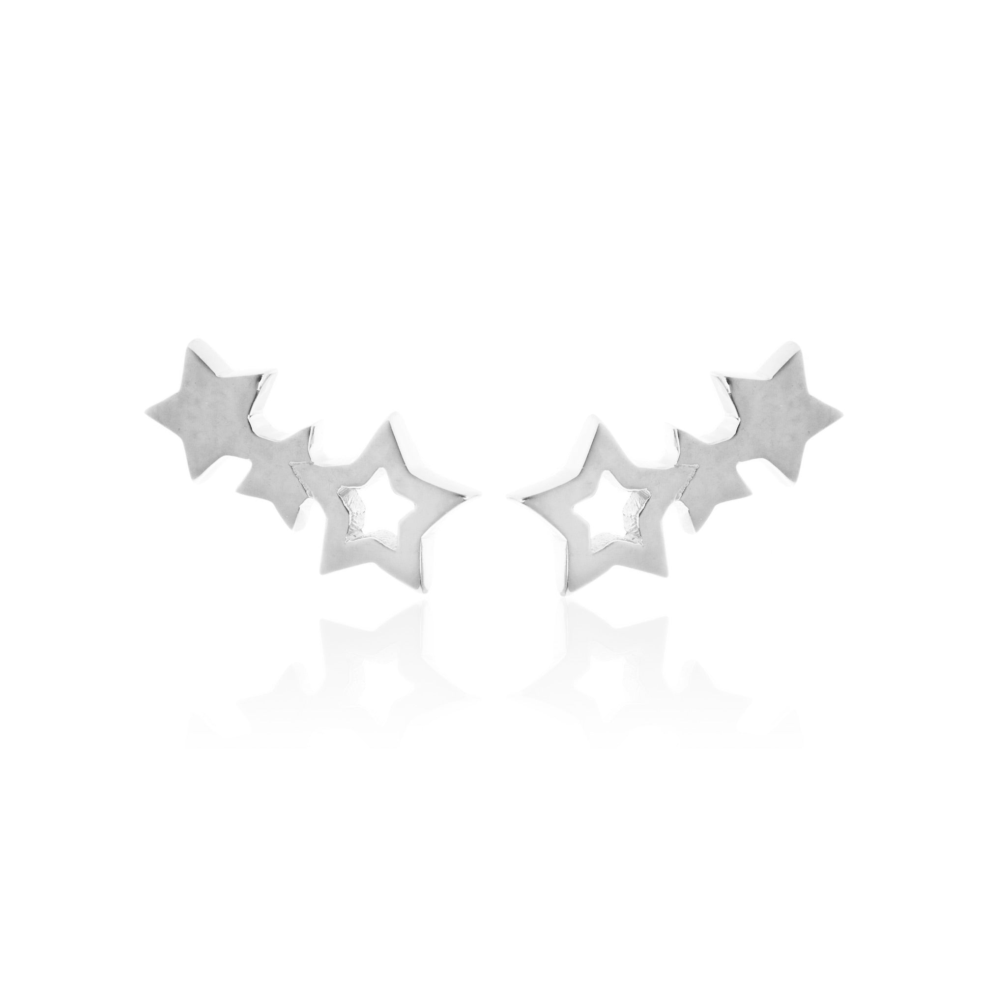 Silk & Steel Jewellery Superfine Star Climber Silver earrings