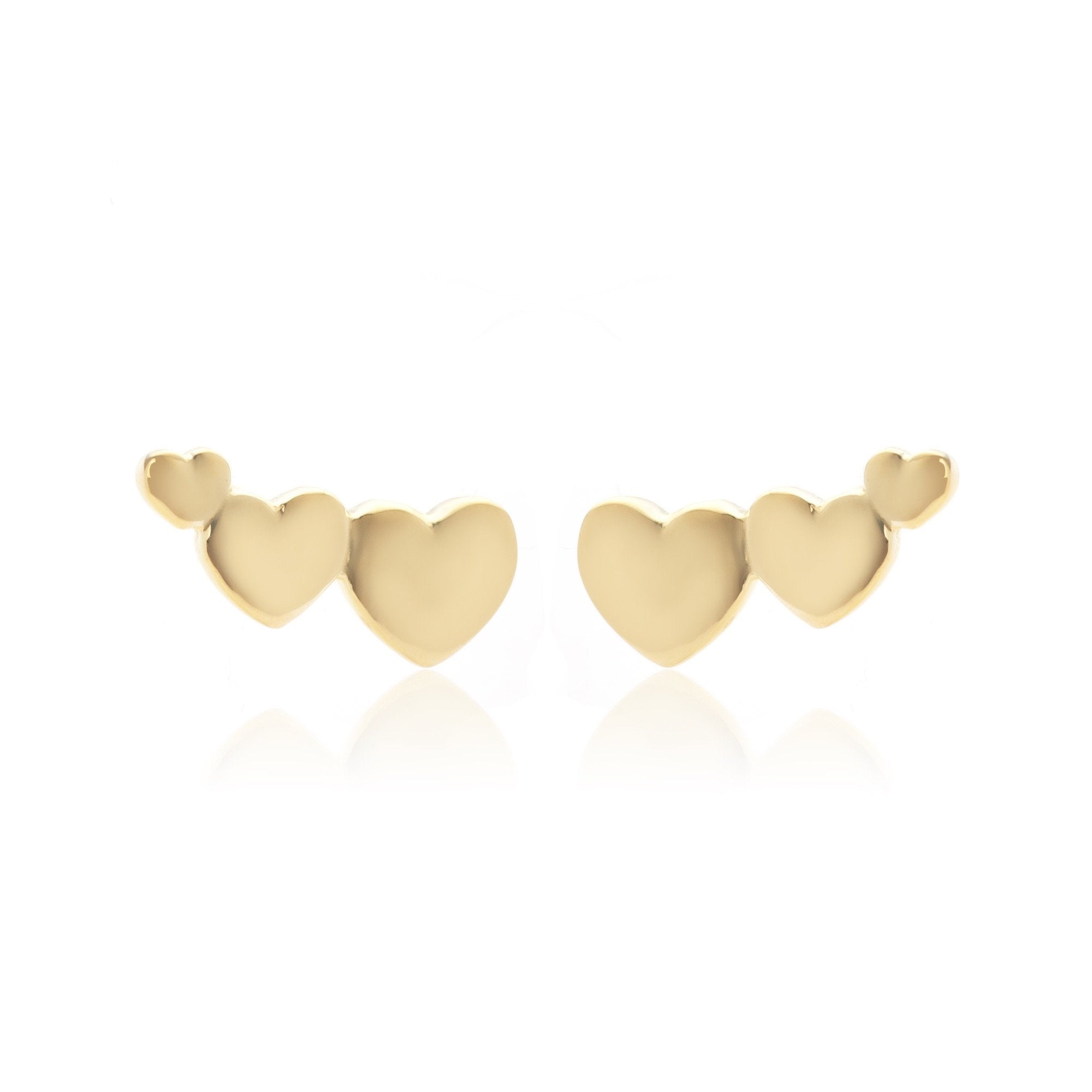Silk & Steel Jewellery Superfine Sterling Silver Heart Climber Gold earrings