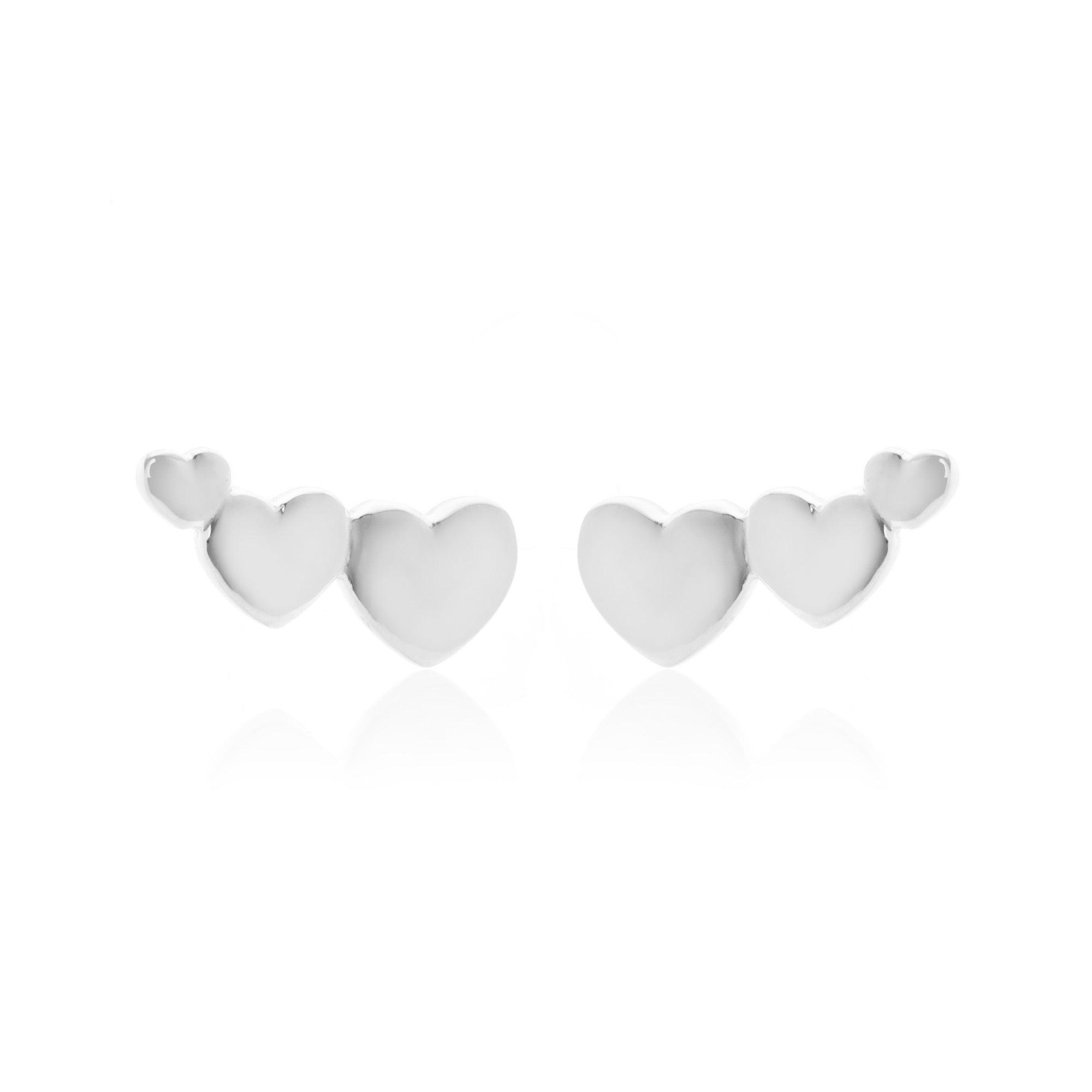 Silk & Steel Jewellery Superfine Heart Climber Silver earrings