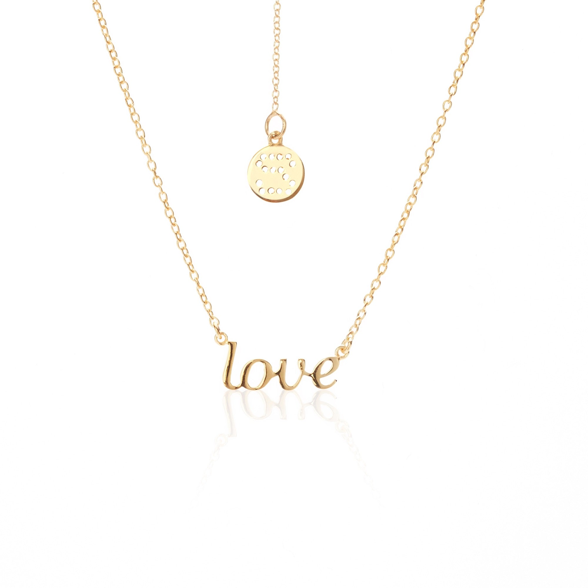 Silk & Steel Jewellery Superfine LOVE Gold Sterling Silver Necklace