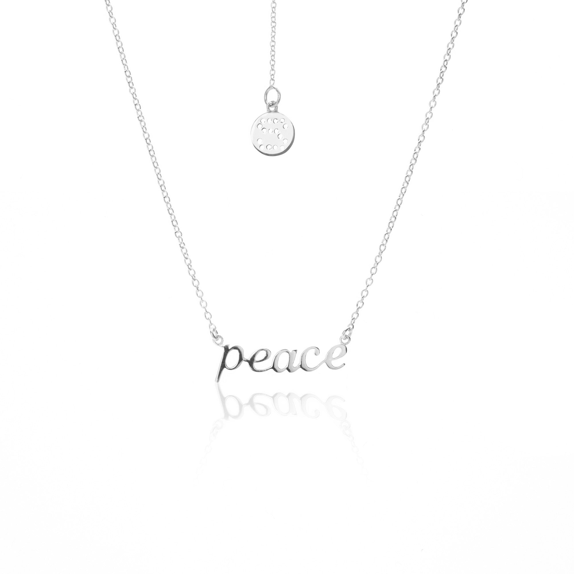 Silk & Steel Jewellery Superfine PEACE Sterling Silver Necklace