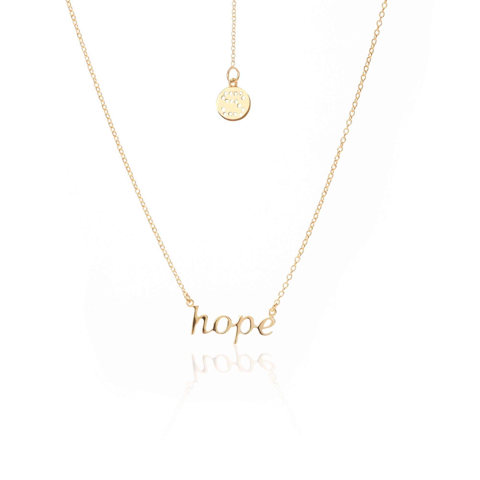 Silk & Steel Jewellery Superfine HOPE Gold Sterling Silver Necklace
