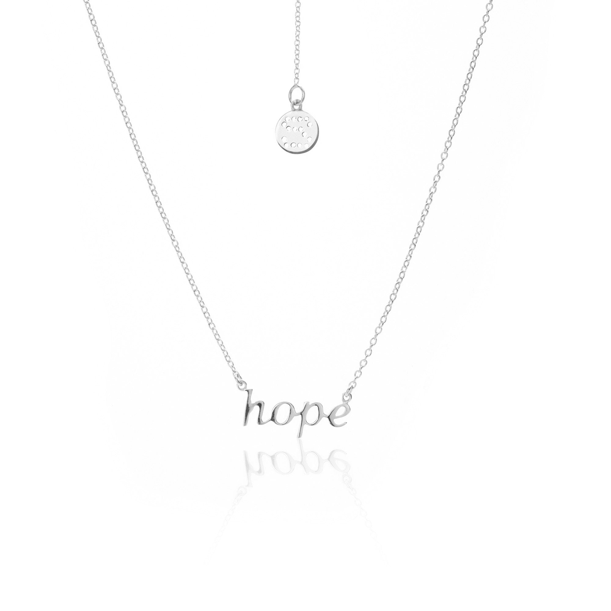 Silk & Steel Jewellery Superfine HOPE Sterling Silver Necklace