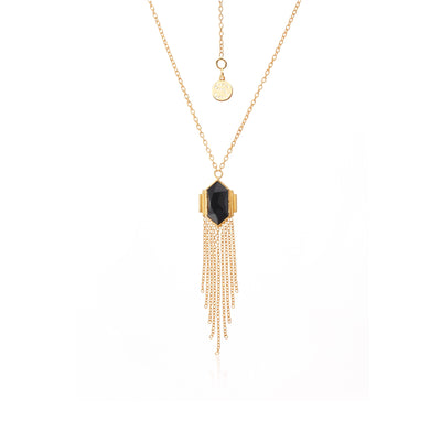 Silk & Steel Jewellery Glamour Fringe Necklace Black Spinel Gold