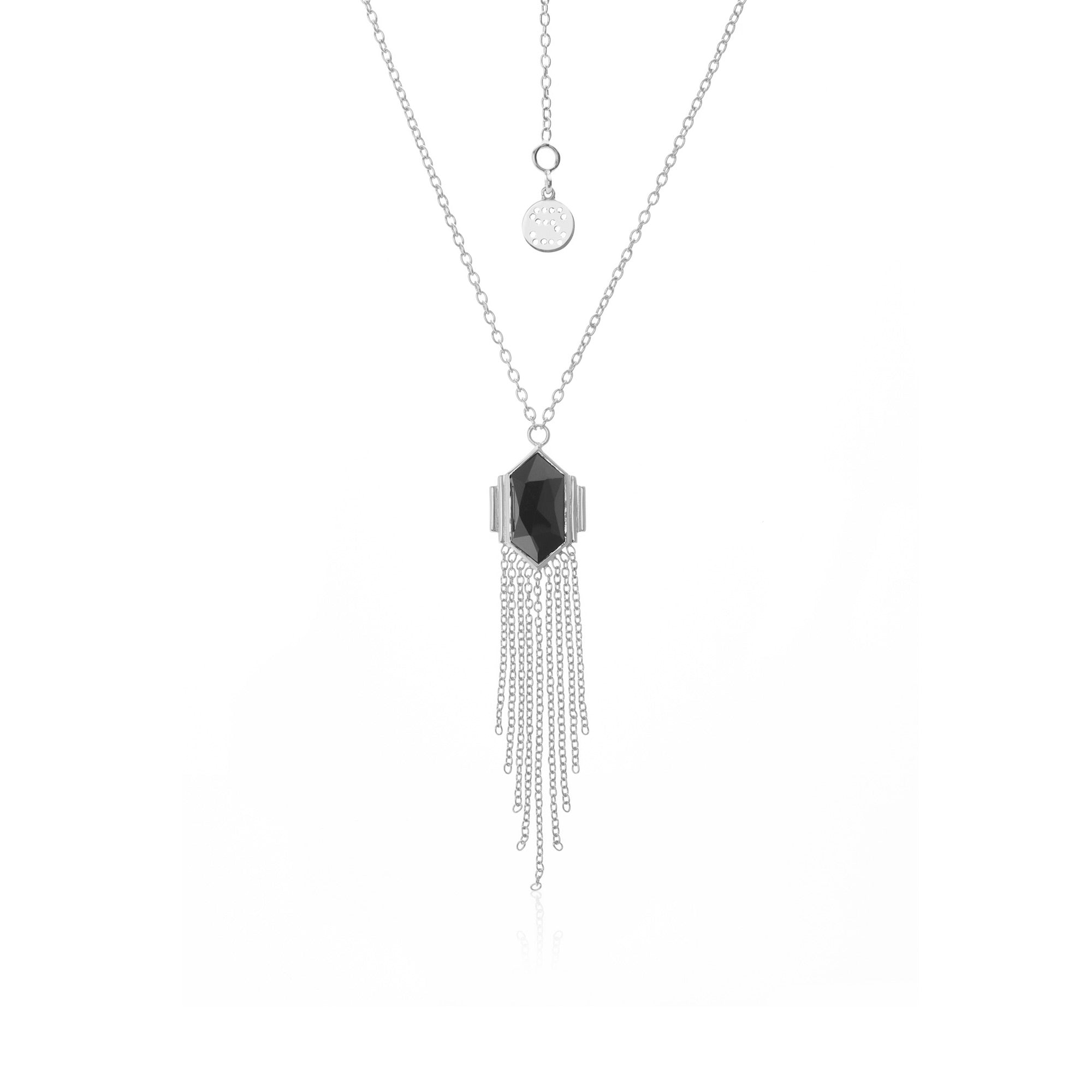 Silk & Steel Jewellery Glamour Fringe Necklace Black Spinel Silver