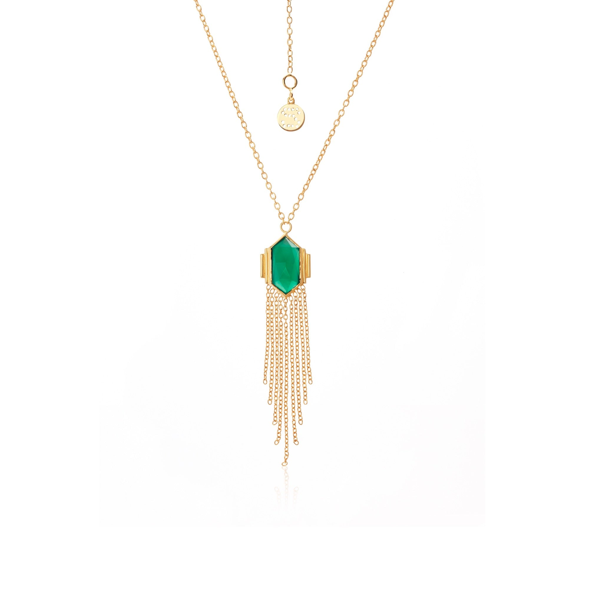 Silk & Steel Jewellery Glamour Fringe Necklace Green Onyx Gold