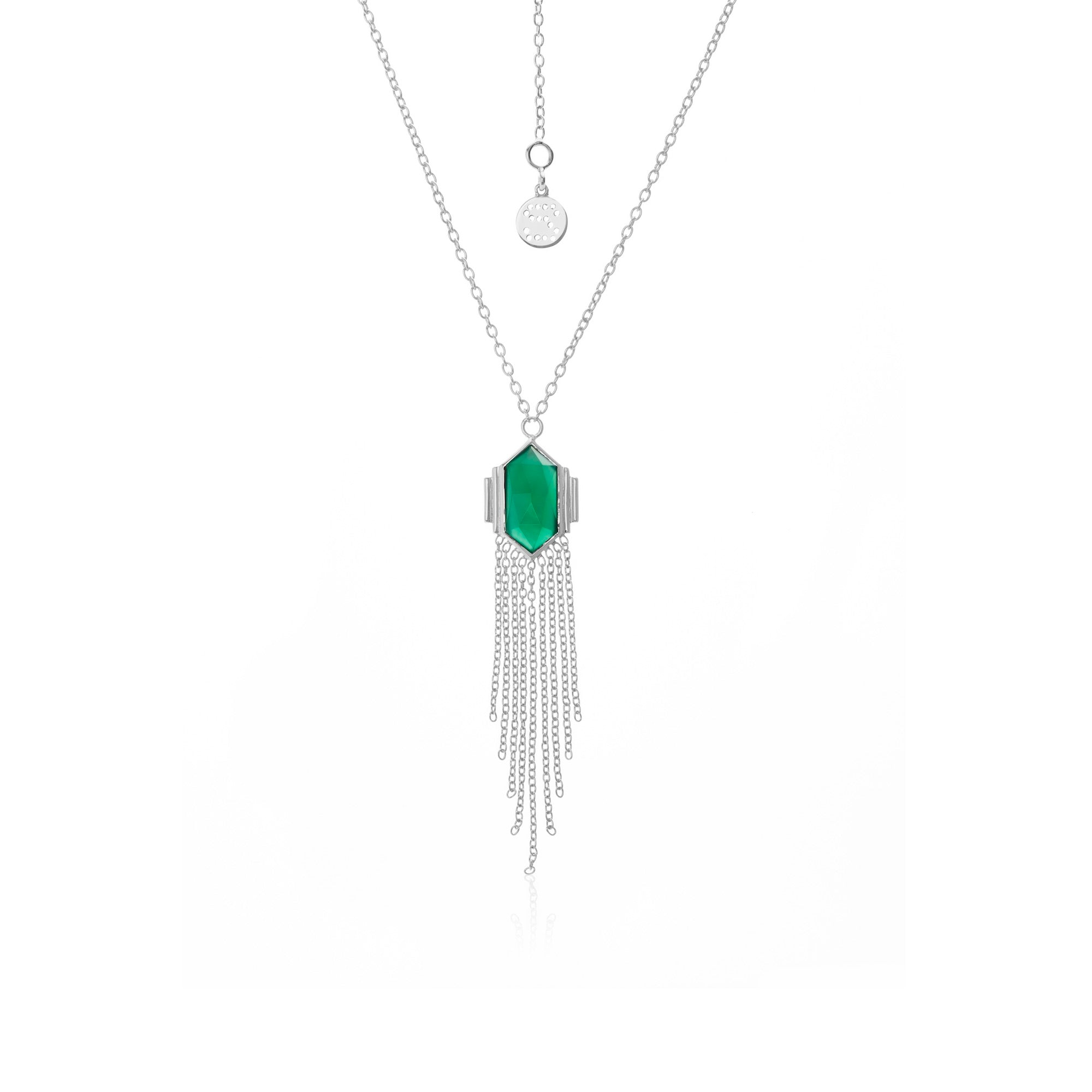 Silk & Steel Jewellery Glamour Fringe Necklace Green Onyx Silver