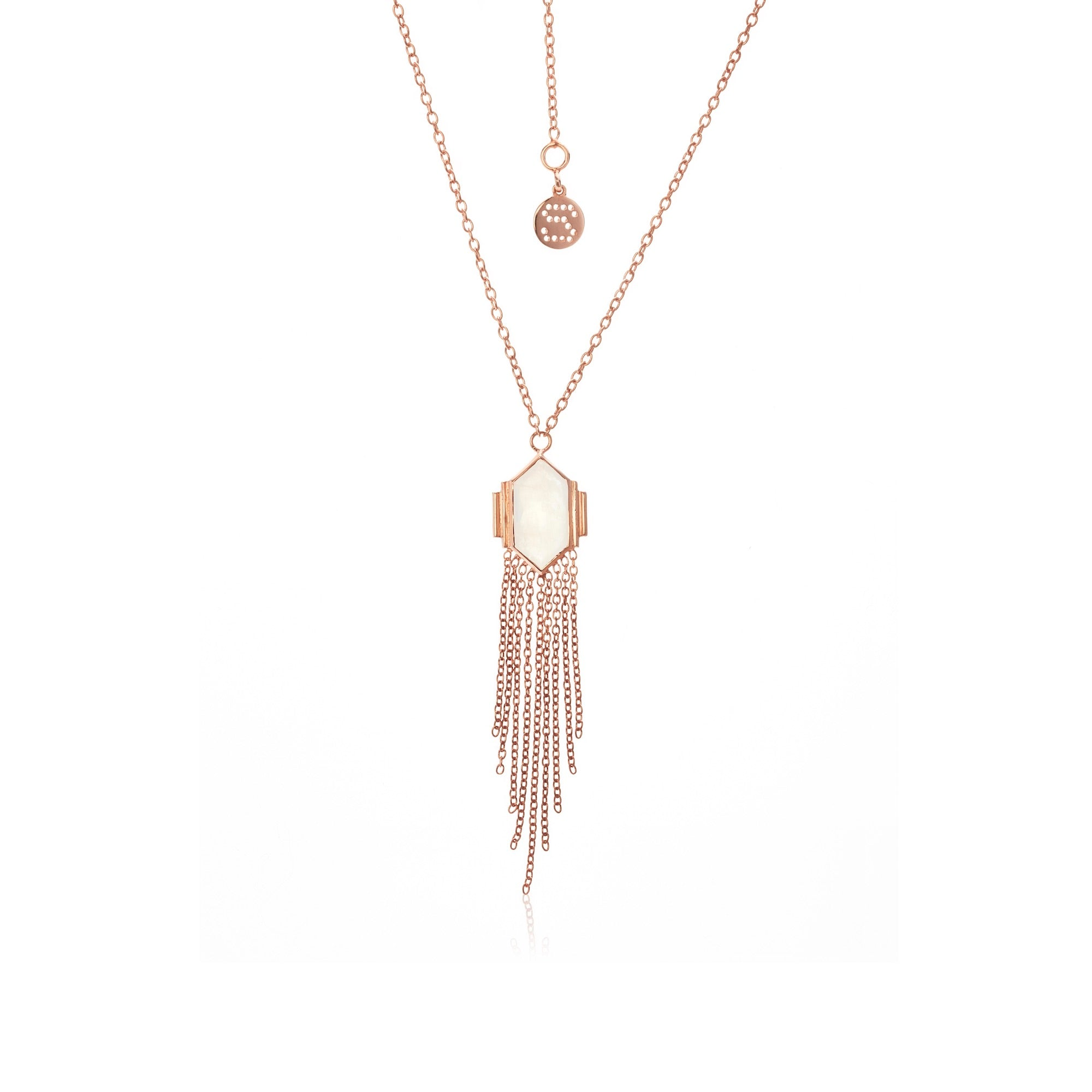 Silk & Steel Jewellery Glamour Fringe Necklace Moonstone Rose Gold
