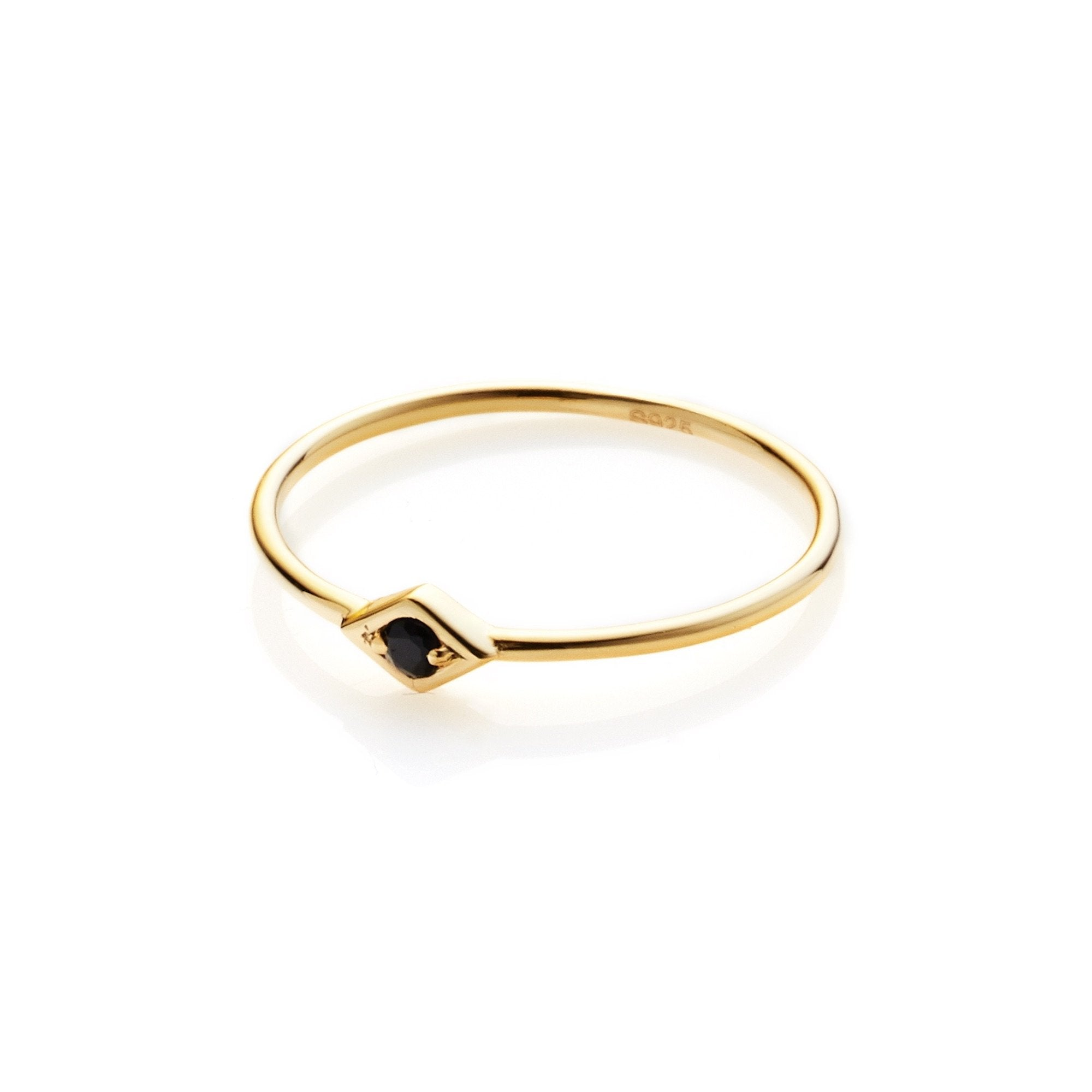 Silk & Steel Jewellery Keepsake ring Black Spinel and Gold