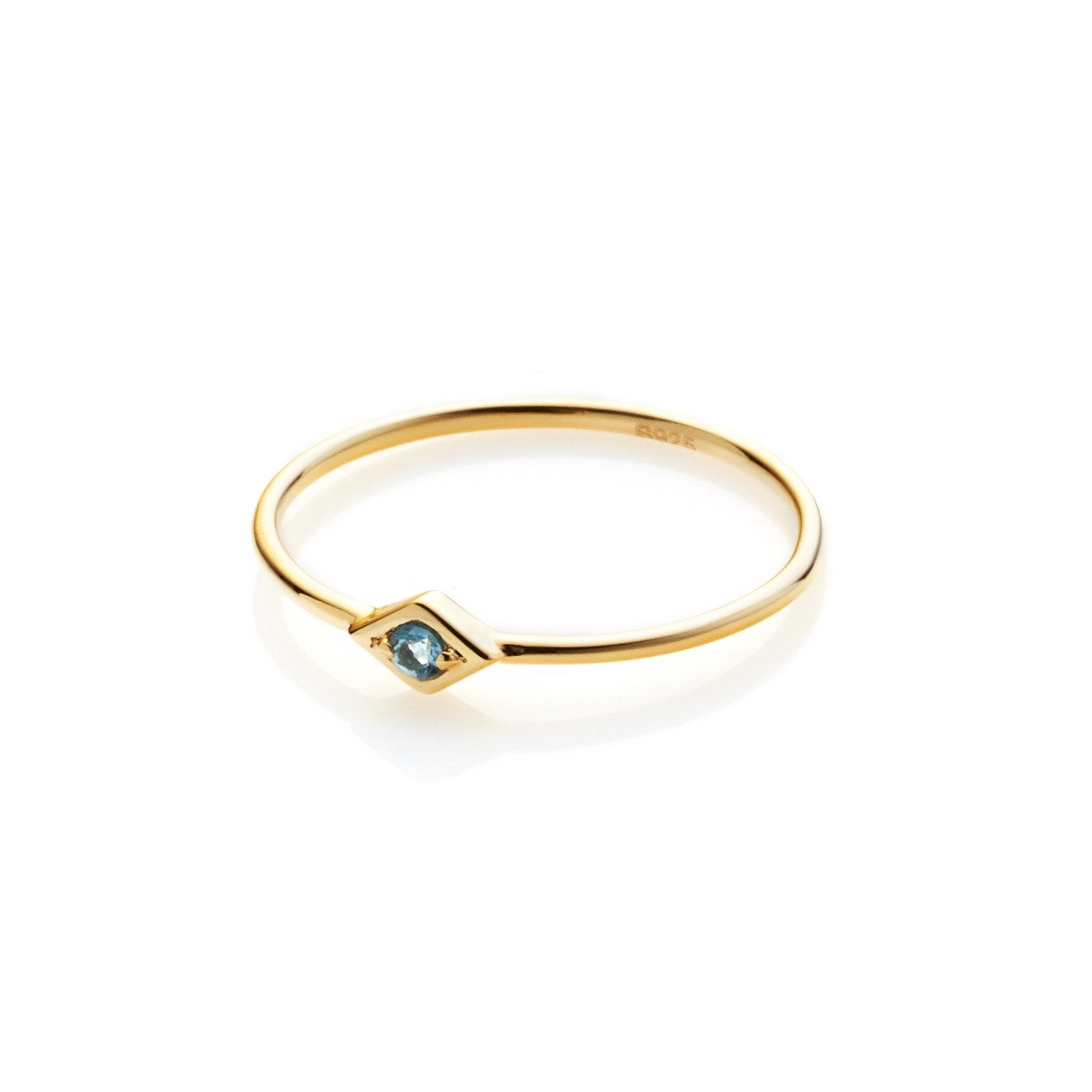 Silk & Steel Jewellery Keepsake ring Blue Topaz and Gold Silver