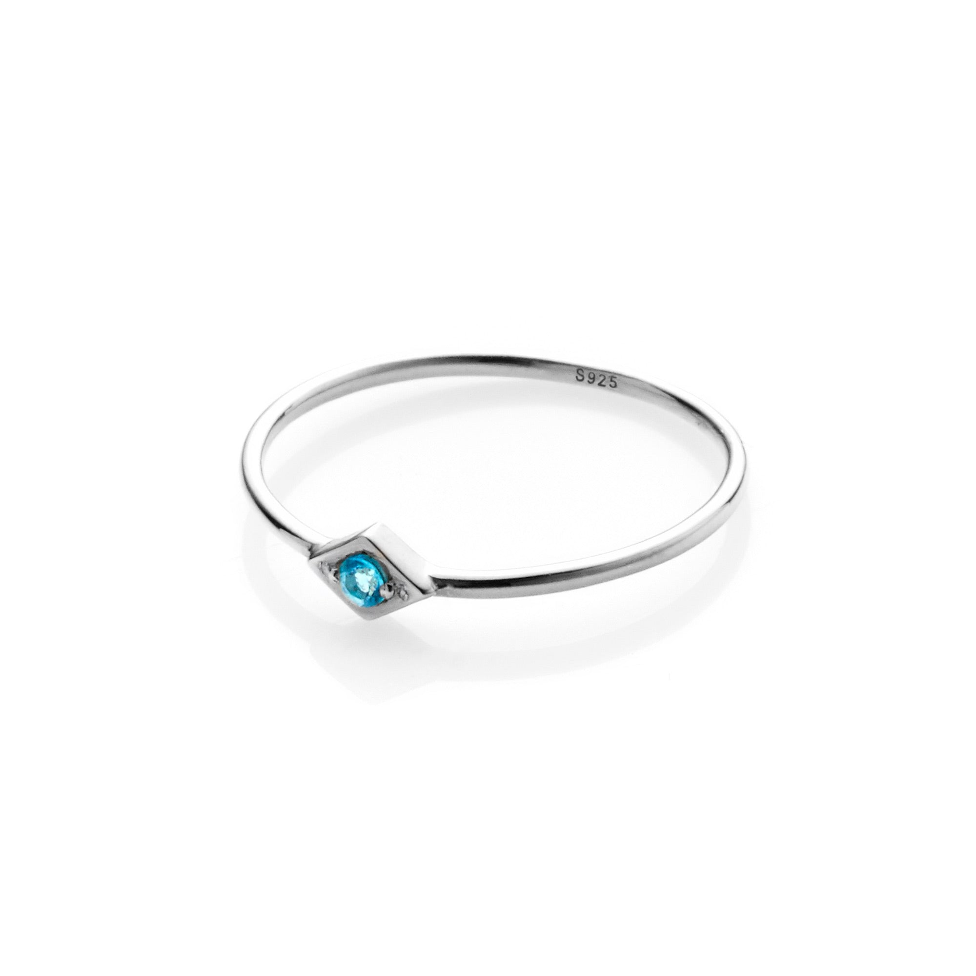 Silk & Steel Jewellery Keepsake ring Blue Topaz and Silver
