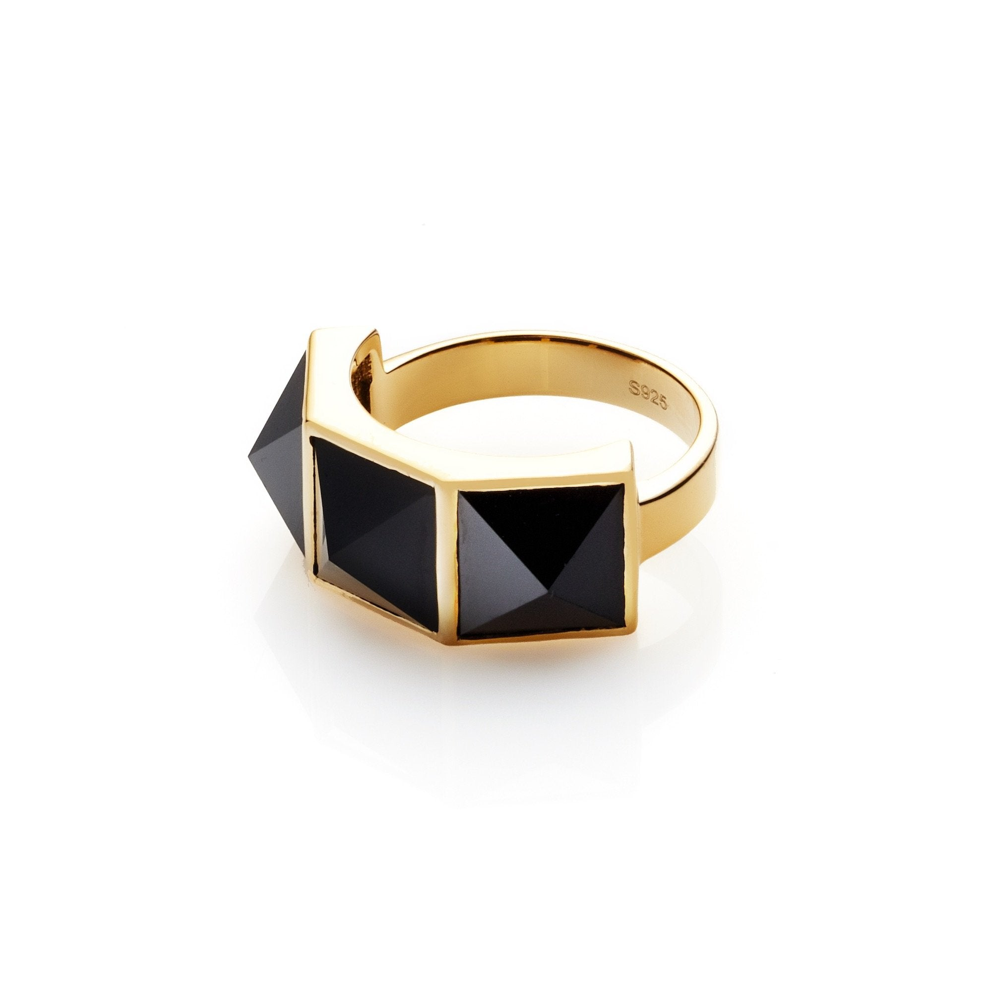 Silk & Steel Jewellery Rock Glam Ring Black Spinel and Gold Sterling Silver