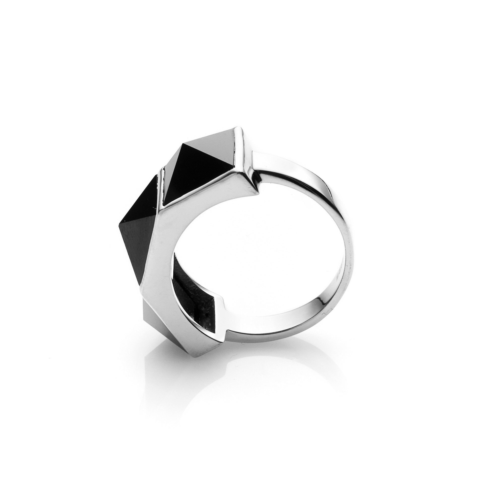 Silk & Steel Jewellery Rock Glam Ring Black Spinel Sterling Silver