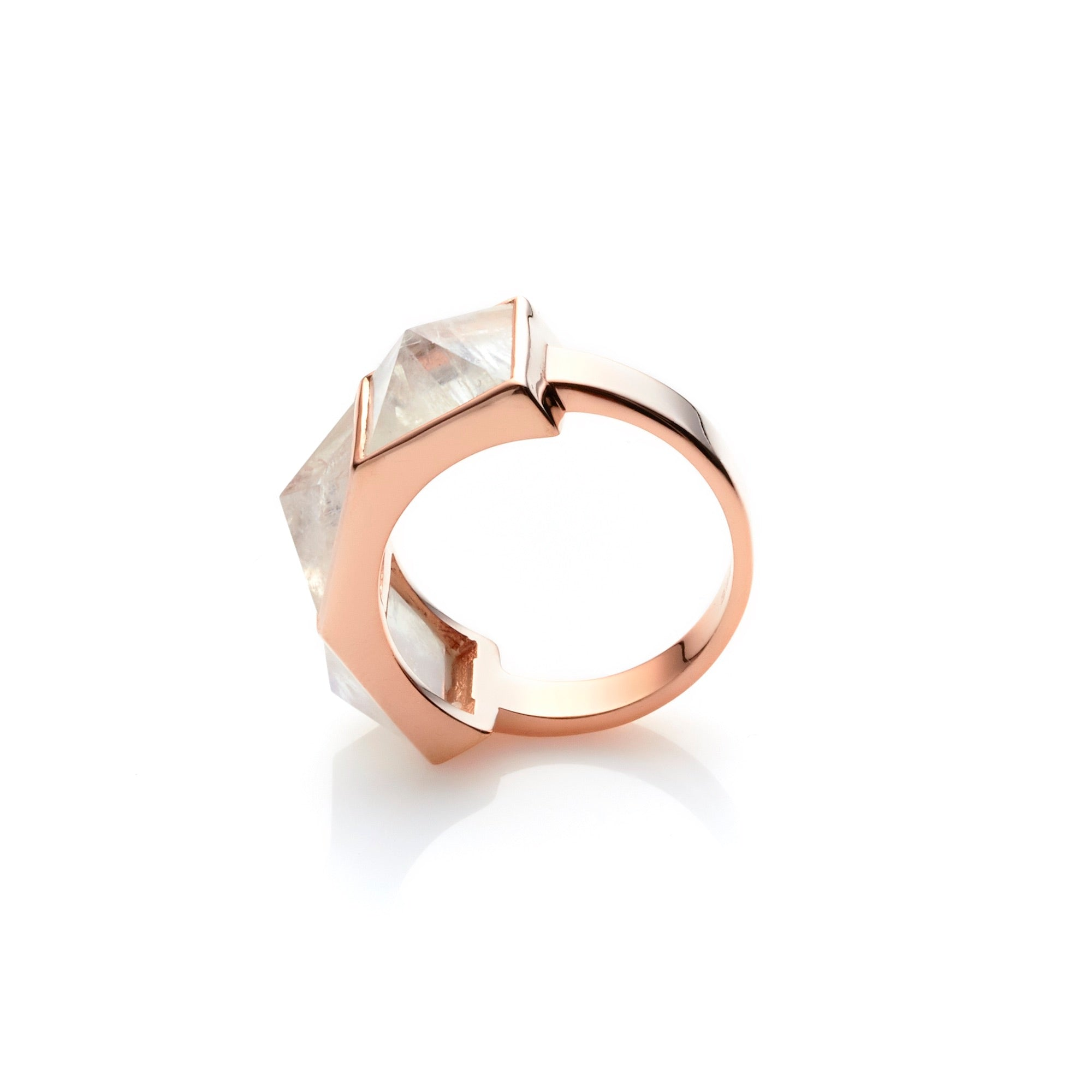 Silk & Steel Jewellery Rock Glam Ring Moonstone and Rose Gold Sterling Silver