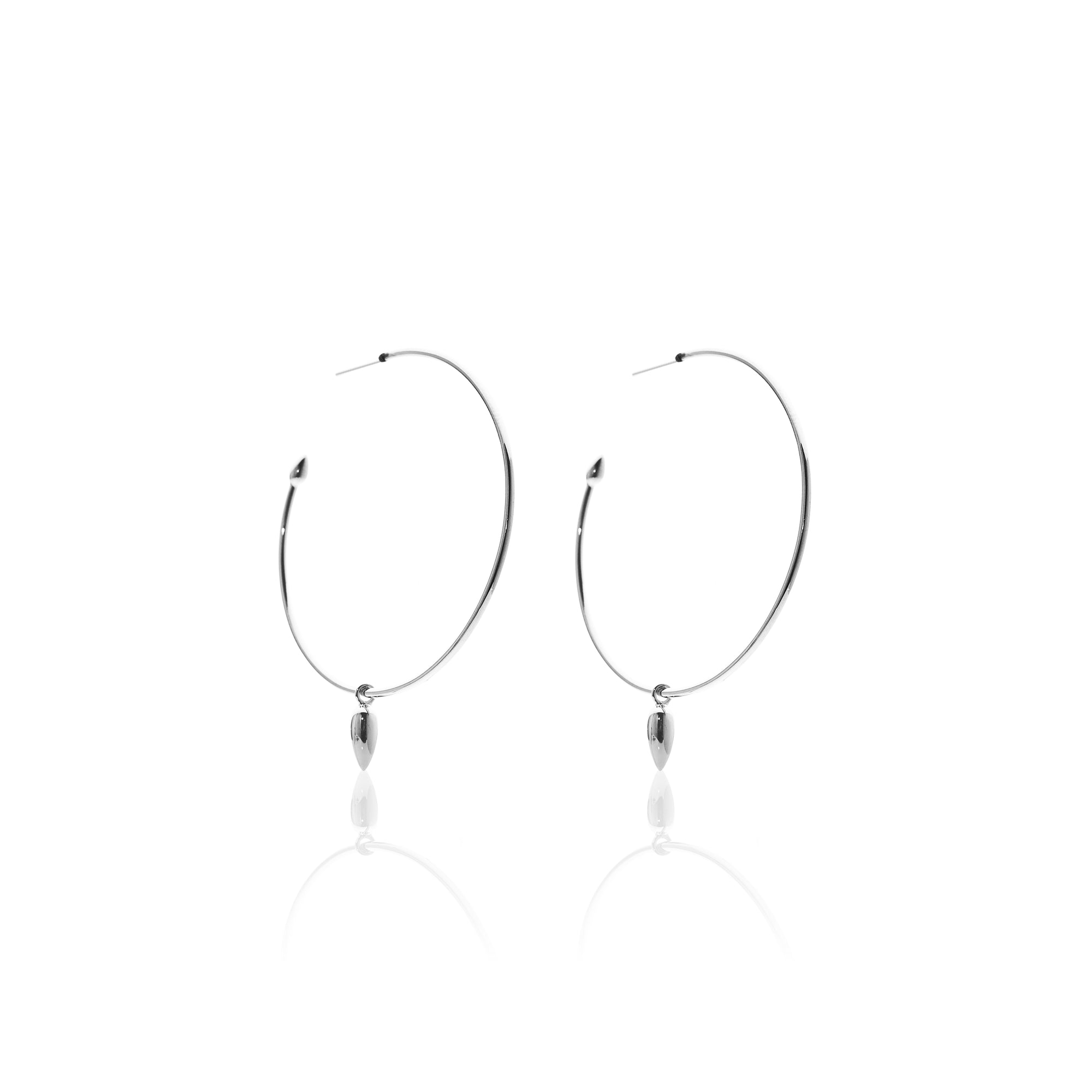 Silk&Steel Jewellery Solo Hoop Earrings Silver From Aria Collection
