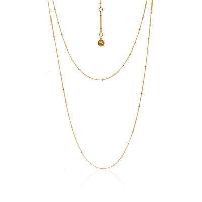 Silk&Steel Jewellery Long Tempo Sterling Gold Necklace From Aria Collection