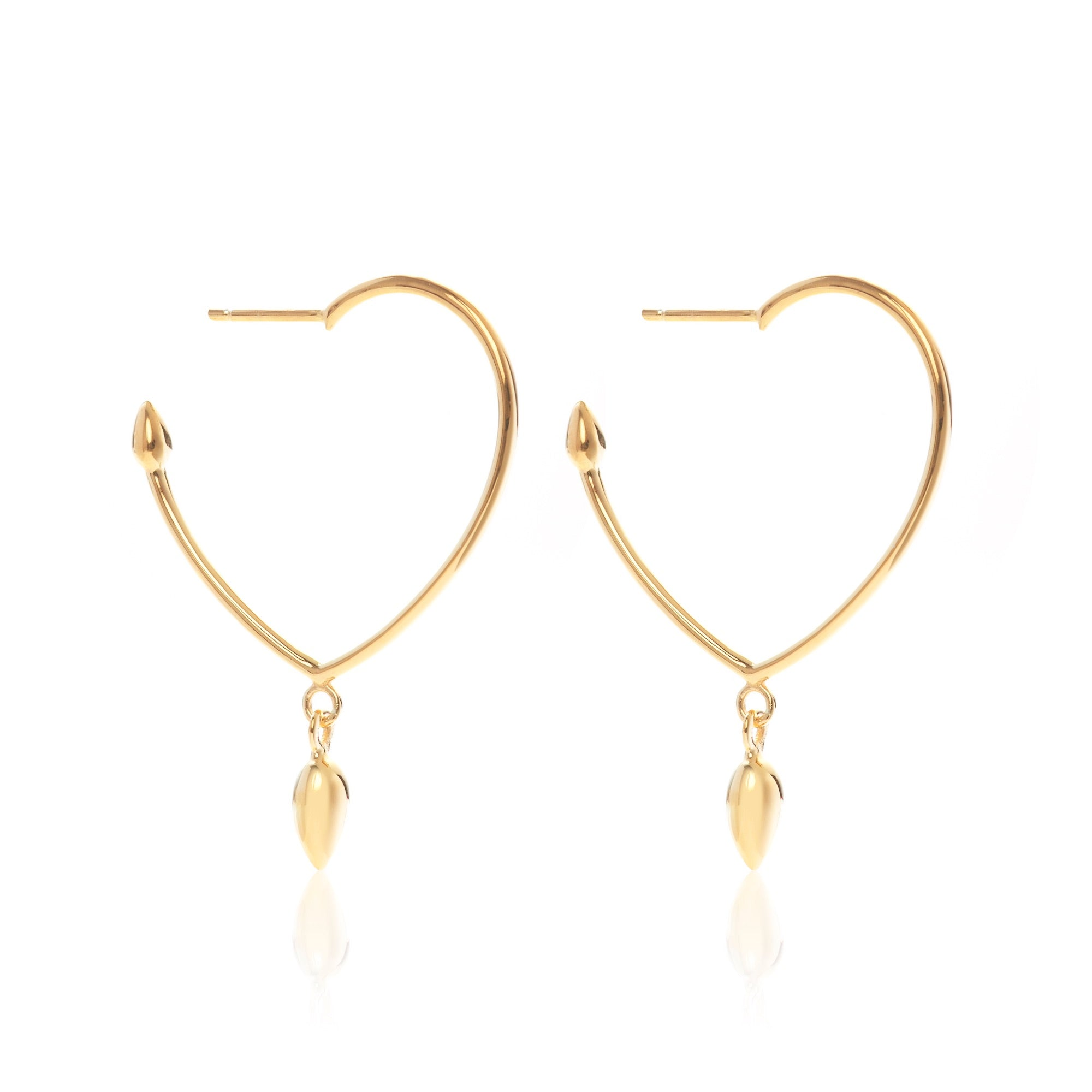 Valentine / Earrings / Lover Heart Hoops / Gold
