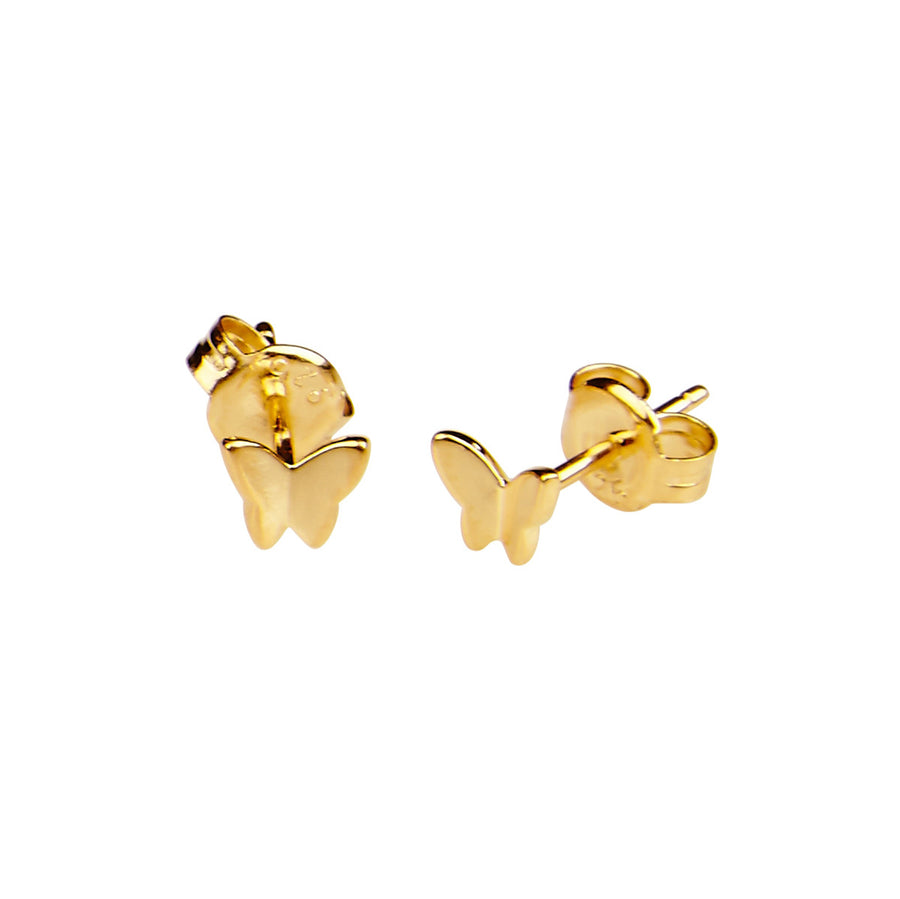 Silk & Steel Butterfly Kisses Gold Plated Sterling Silver Earrings
